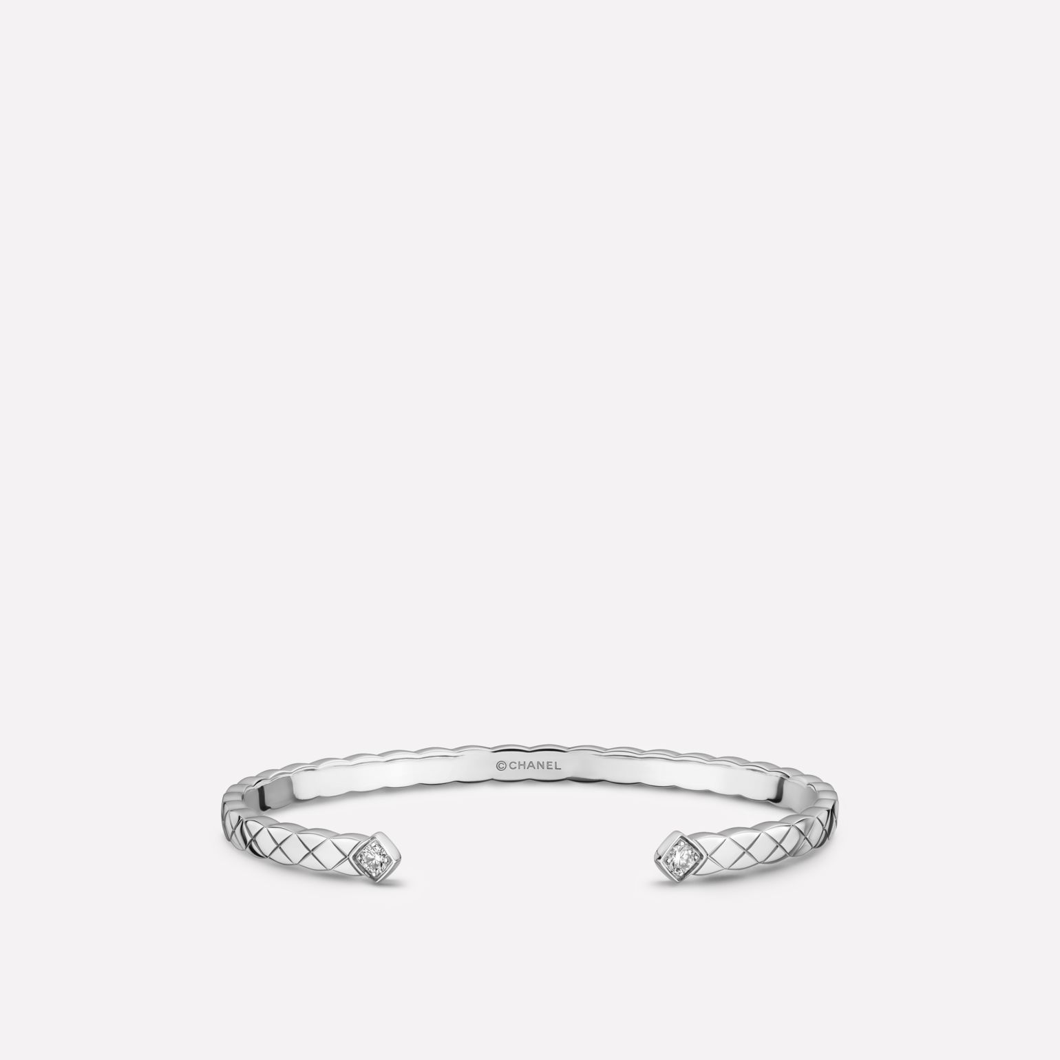 Coco Crush bracelet Quilted motif, 18K white gold, diamonds