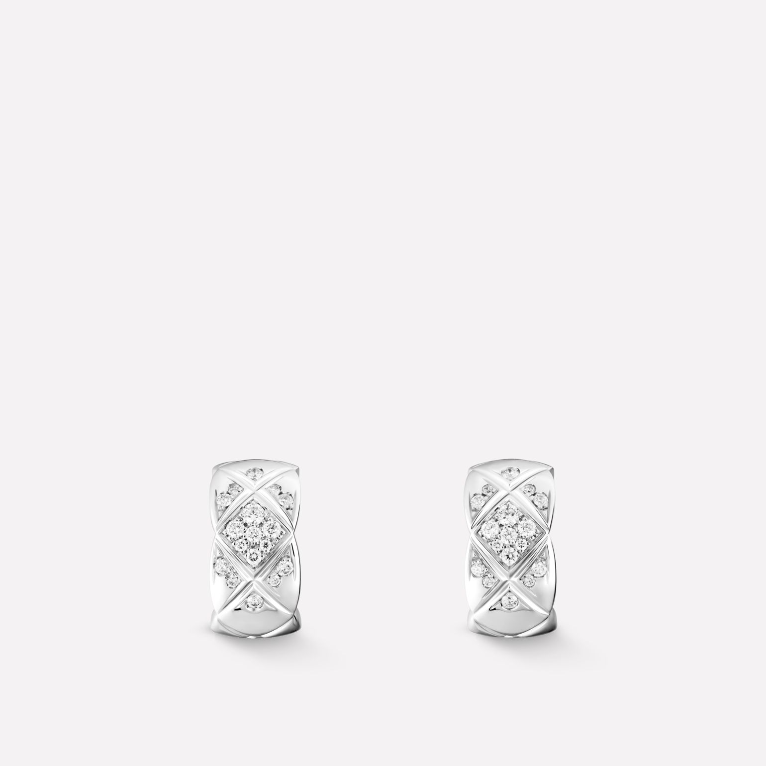 Coco Crush earrings Quilted motif, 18K white gold, diamonds