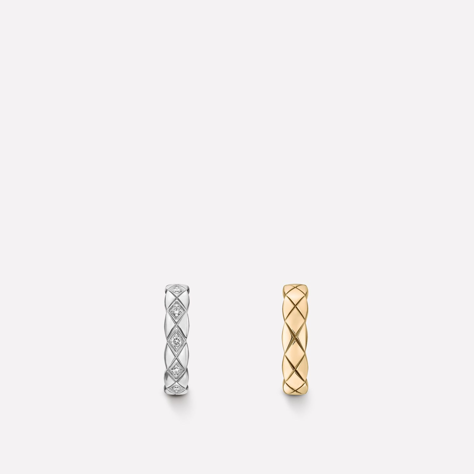 Coco Crush earrings Quilted motif, 18K white and BEIGE GOLD, diamonds