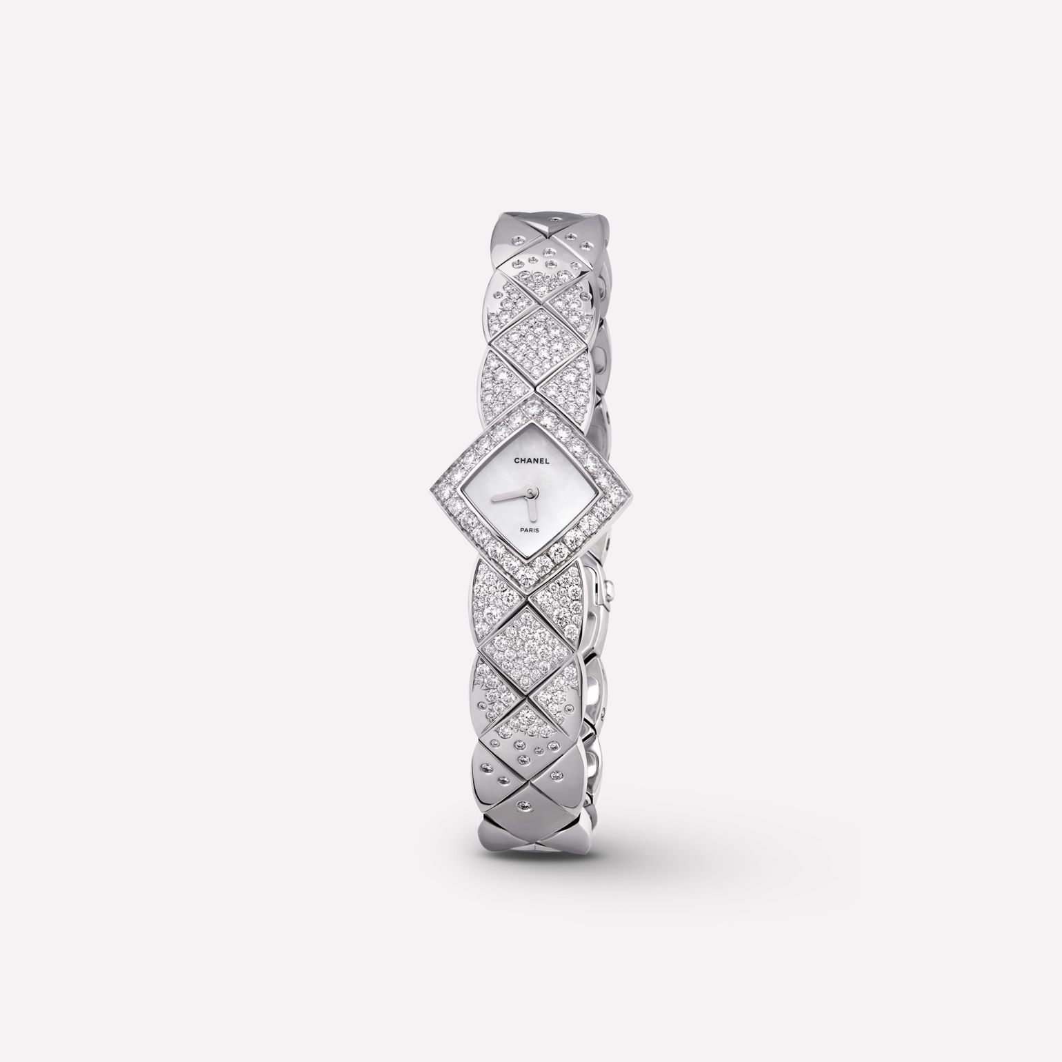 Coco Crush Jewellery Watch Quilted motif in 18K white gold and diamonds