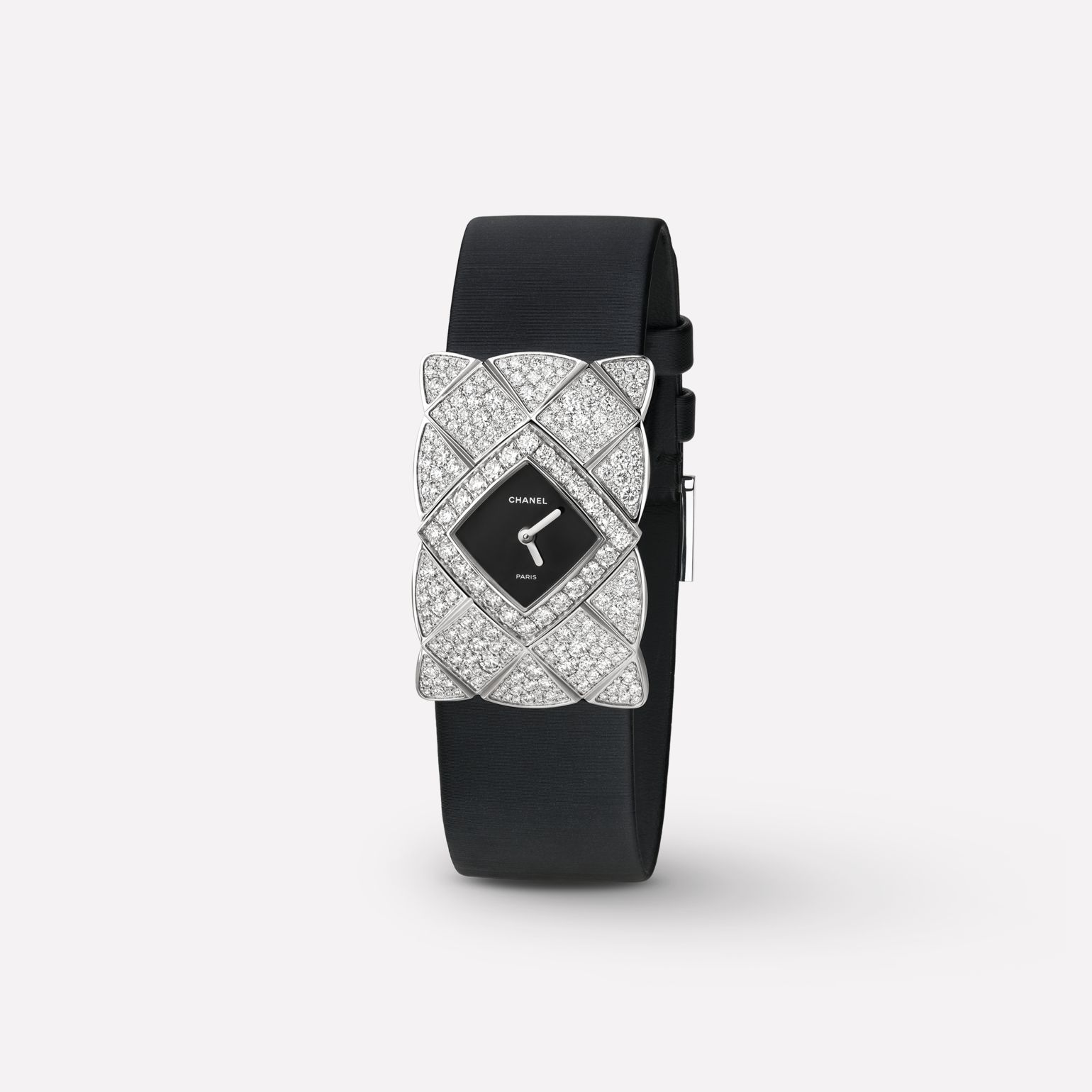 Coco Crush Jewelry Watch Quilted motif in 18K white gold and diamonds