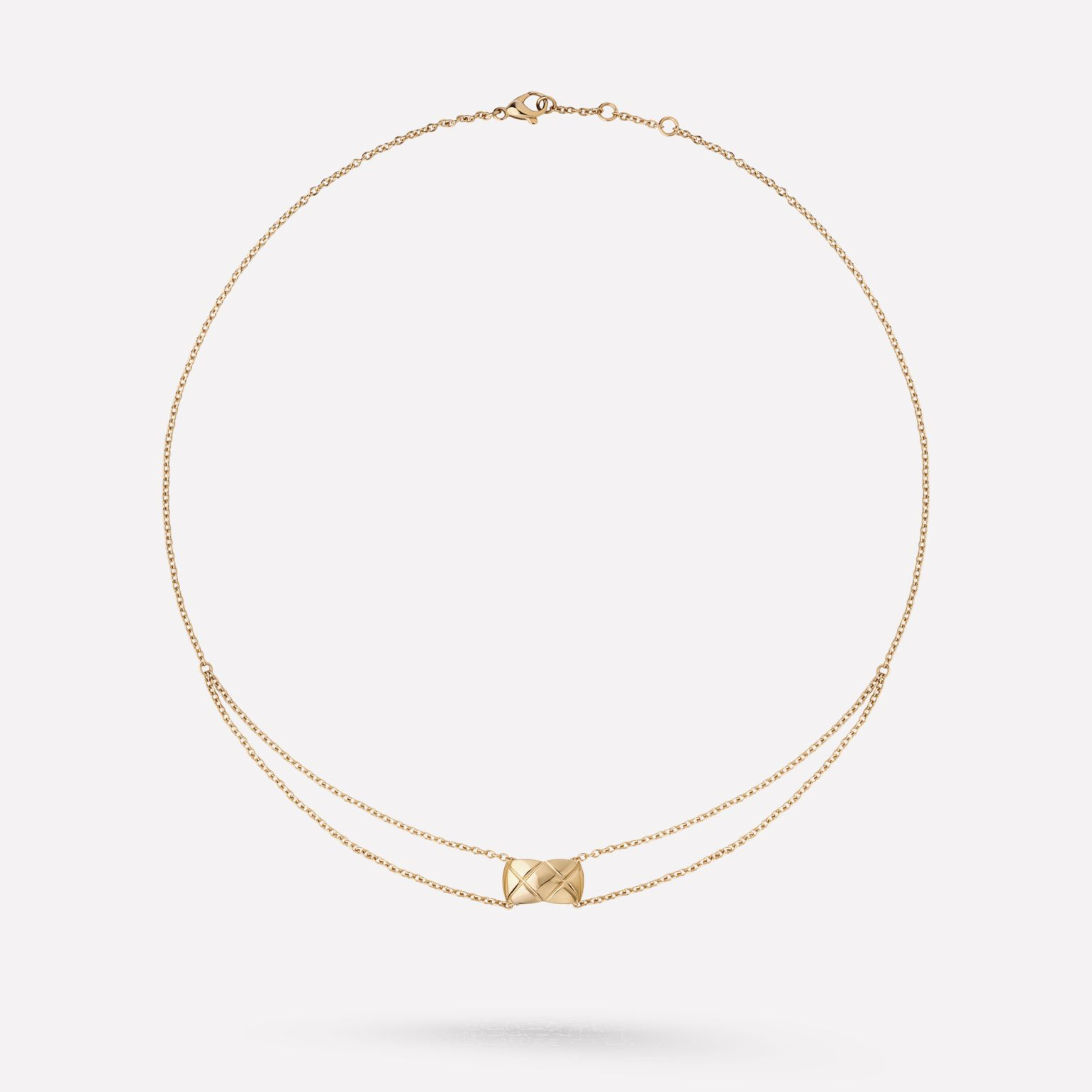 Coco Crush necklace Quilted motif, 18K BEIGE GOLD