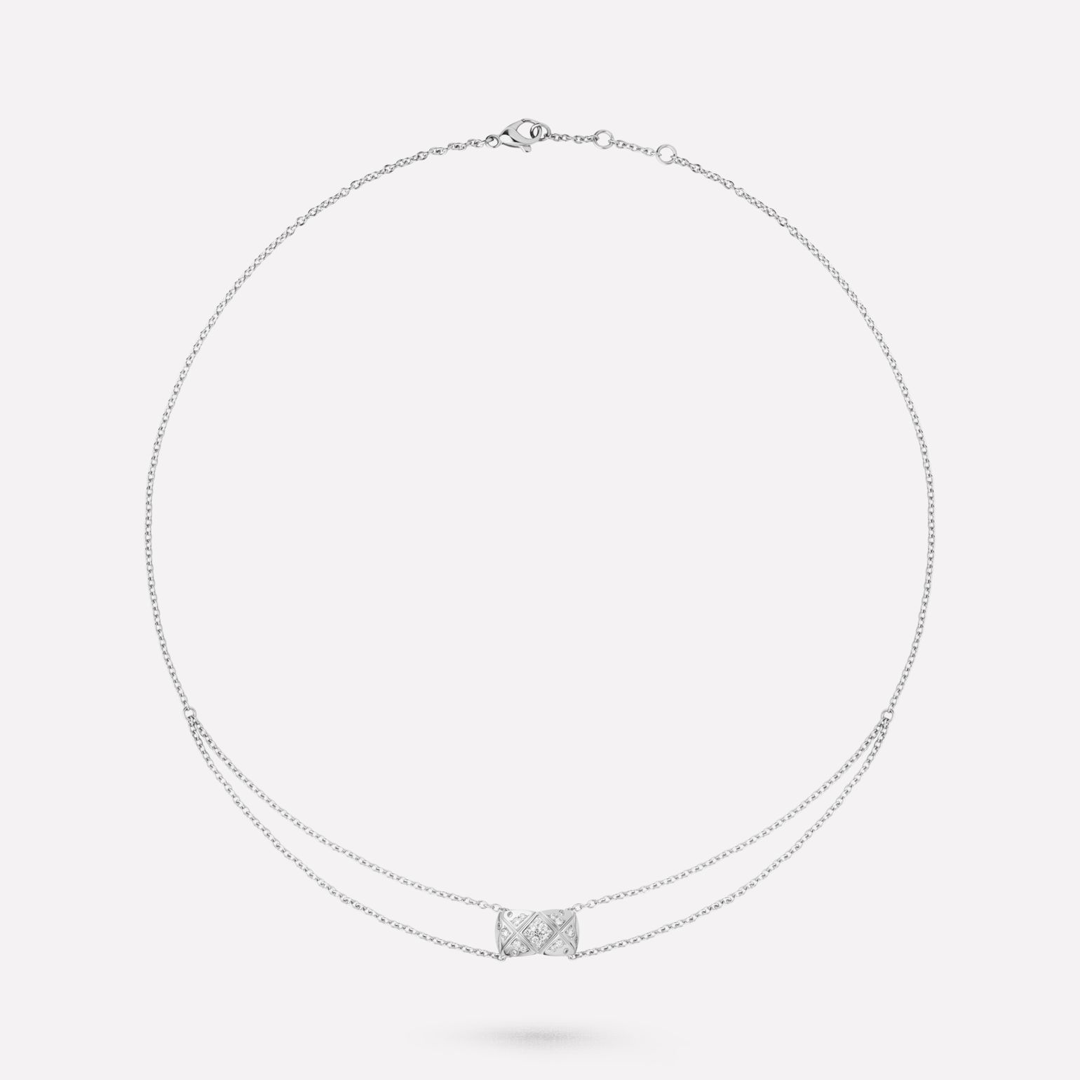 Coco Crush necklace Quilted motif, 18K white gold, diamonds