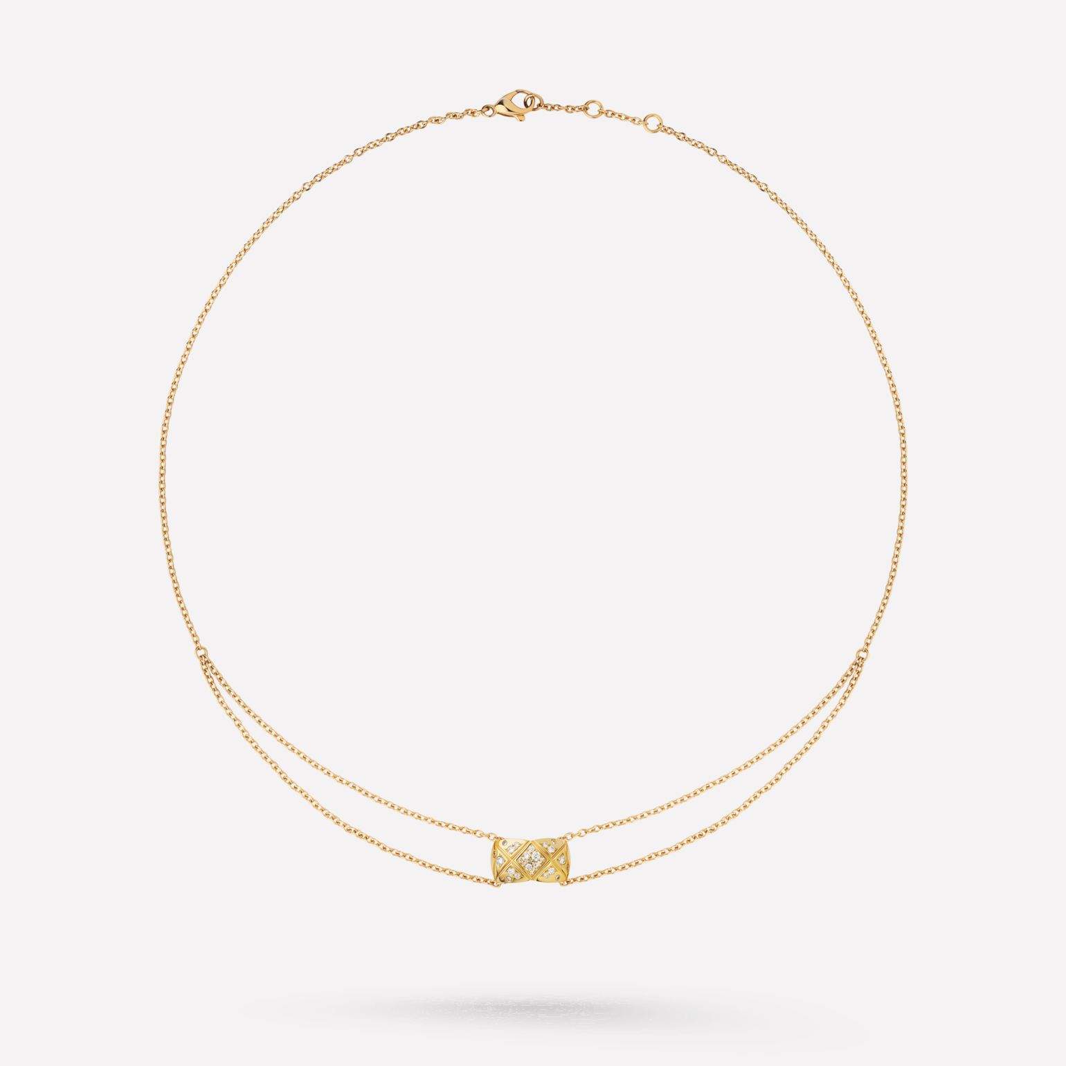 Coco Crush necklace Quilted motif, 18K yellow gold, diamonds