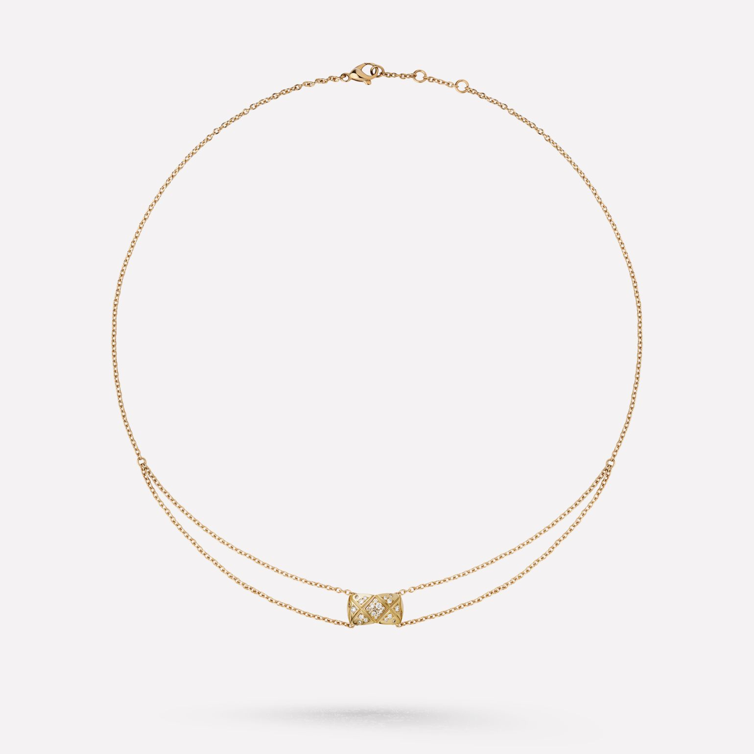 Coco Crush necklace Quilted motif, 18K BEIGE GOLD, diamonds