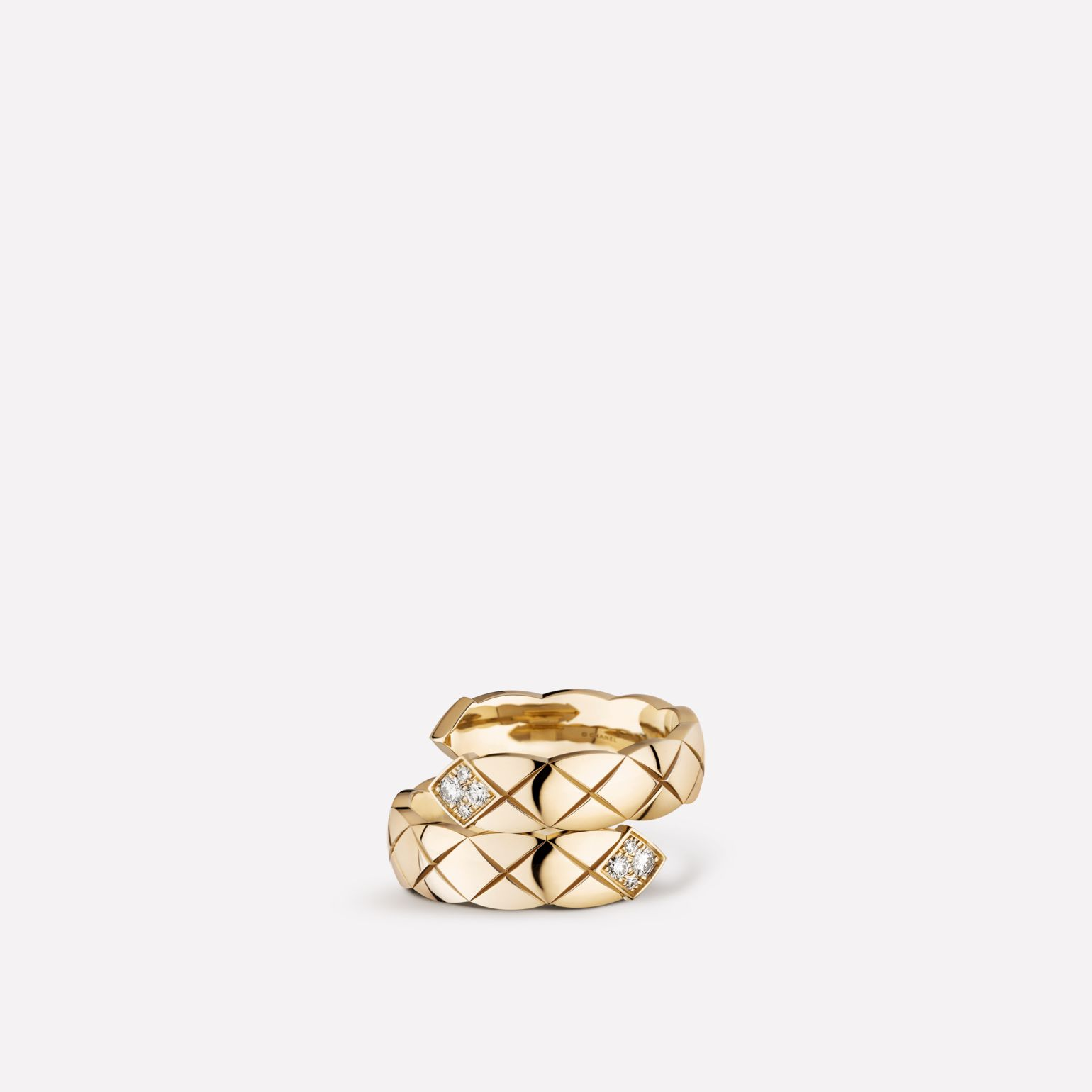 Coco Crush Toi et Moi ring Quilted motif, large version, 18K BEIGE GOLD, diamonds