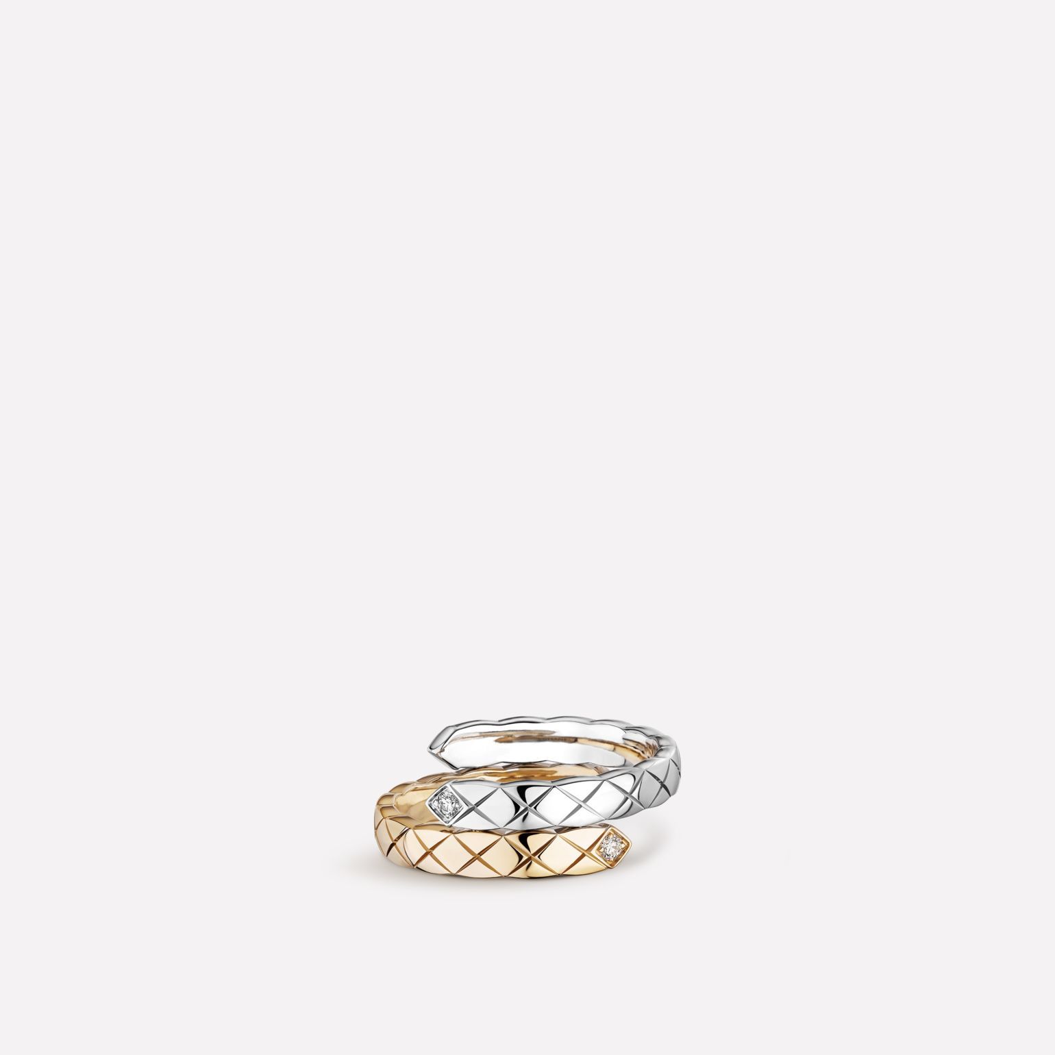 Coco Crush Toi et Moi ring Quilted motif, small version, 18K white and BEIGE GOLD, diamonds