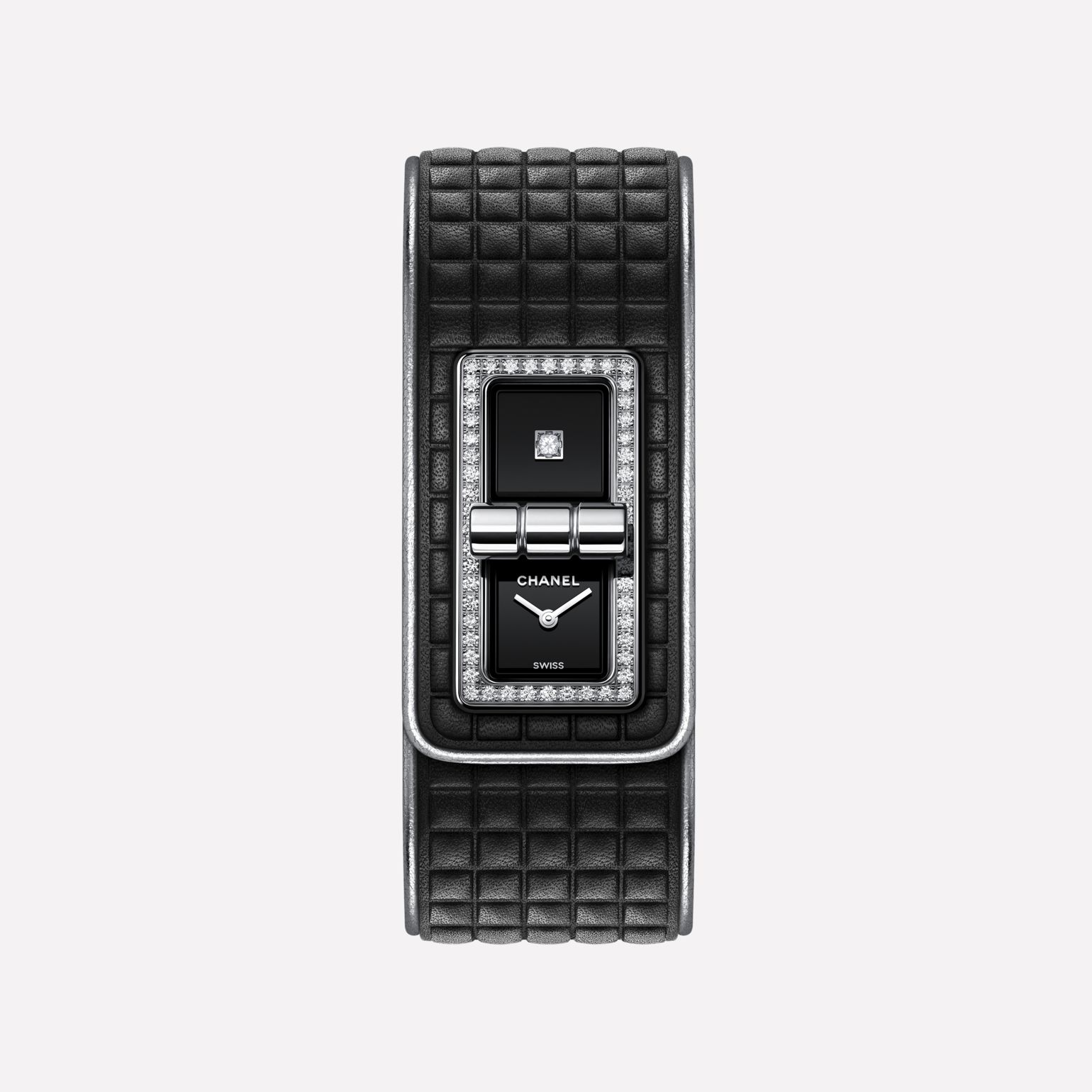 CODE COCO Leather Watch Black calfskin leather, steel and diamonds