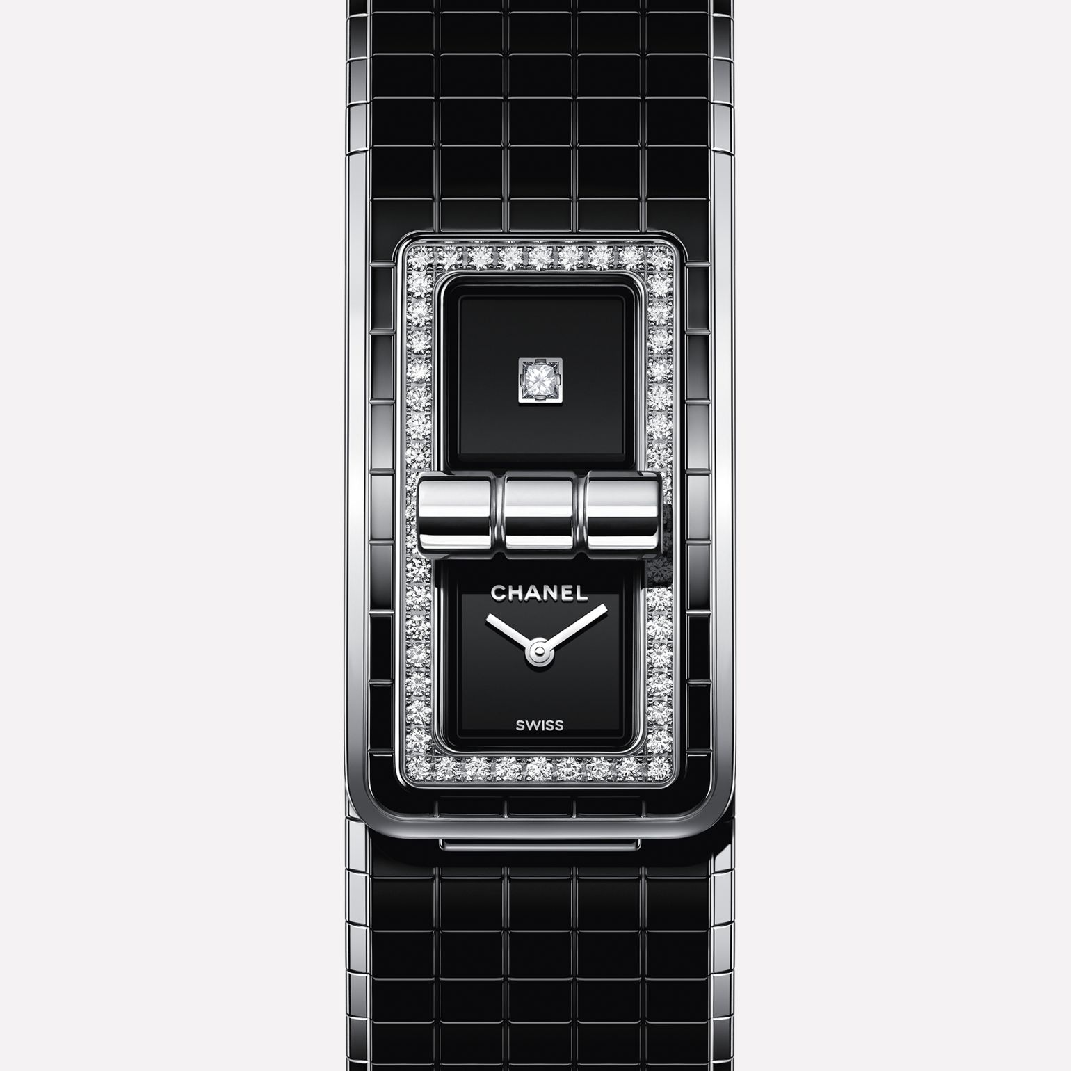 CODE COCO Watch Steel & Ceramic, set with diamonds