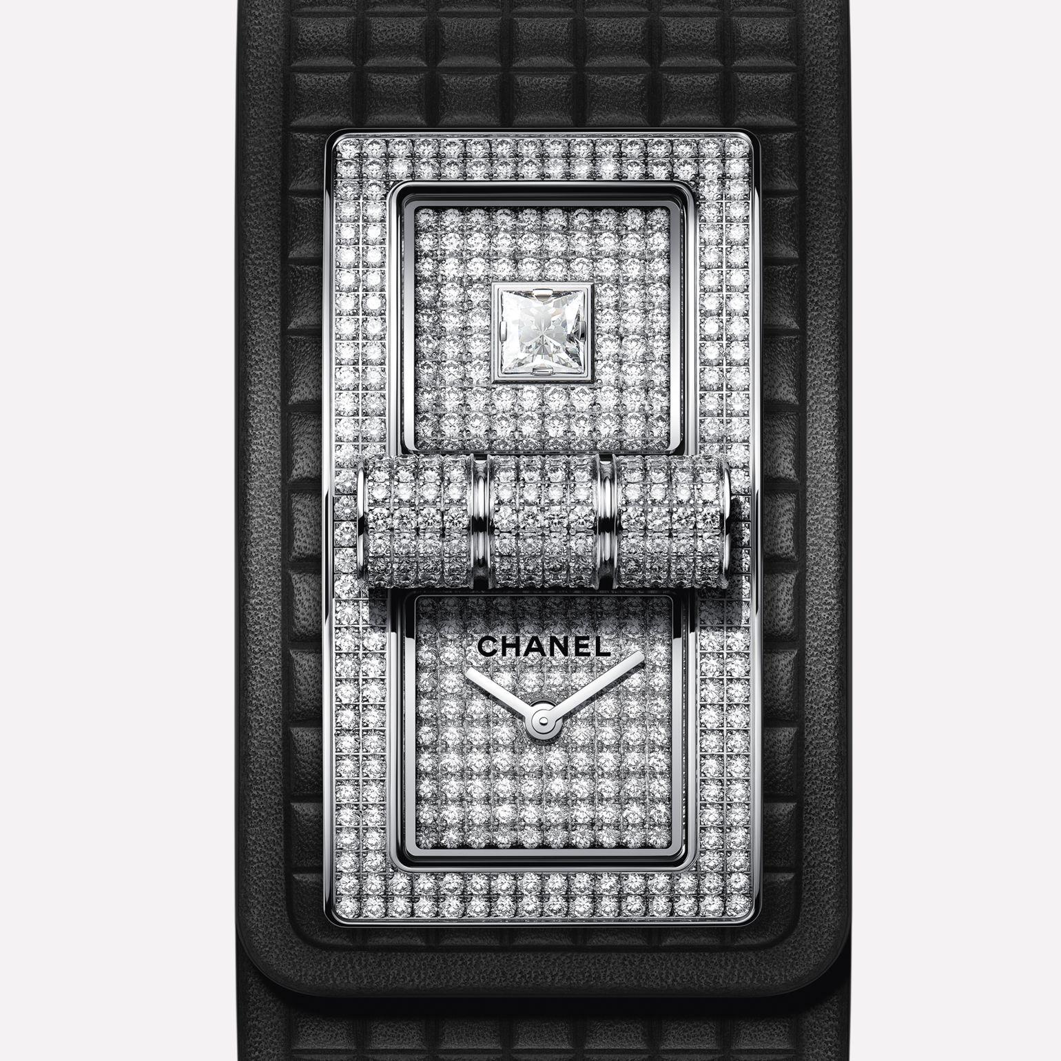 CODE COCO Watch 18K white gold set with diamonds and black calfskin strap