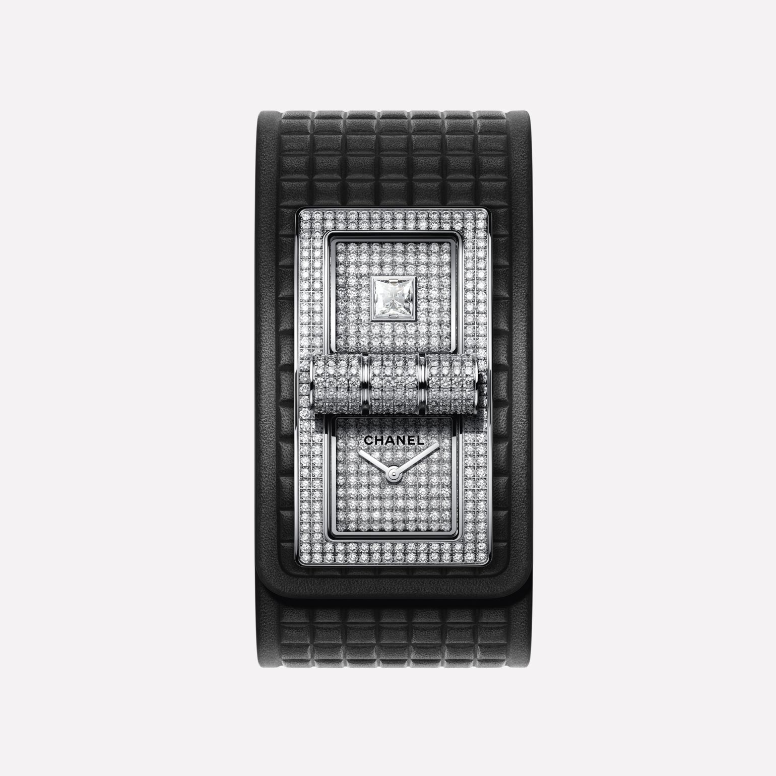 CODE COCO Watch 18K white gold set with diamonds and black calf leather strap