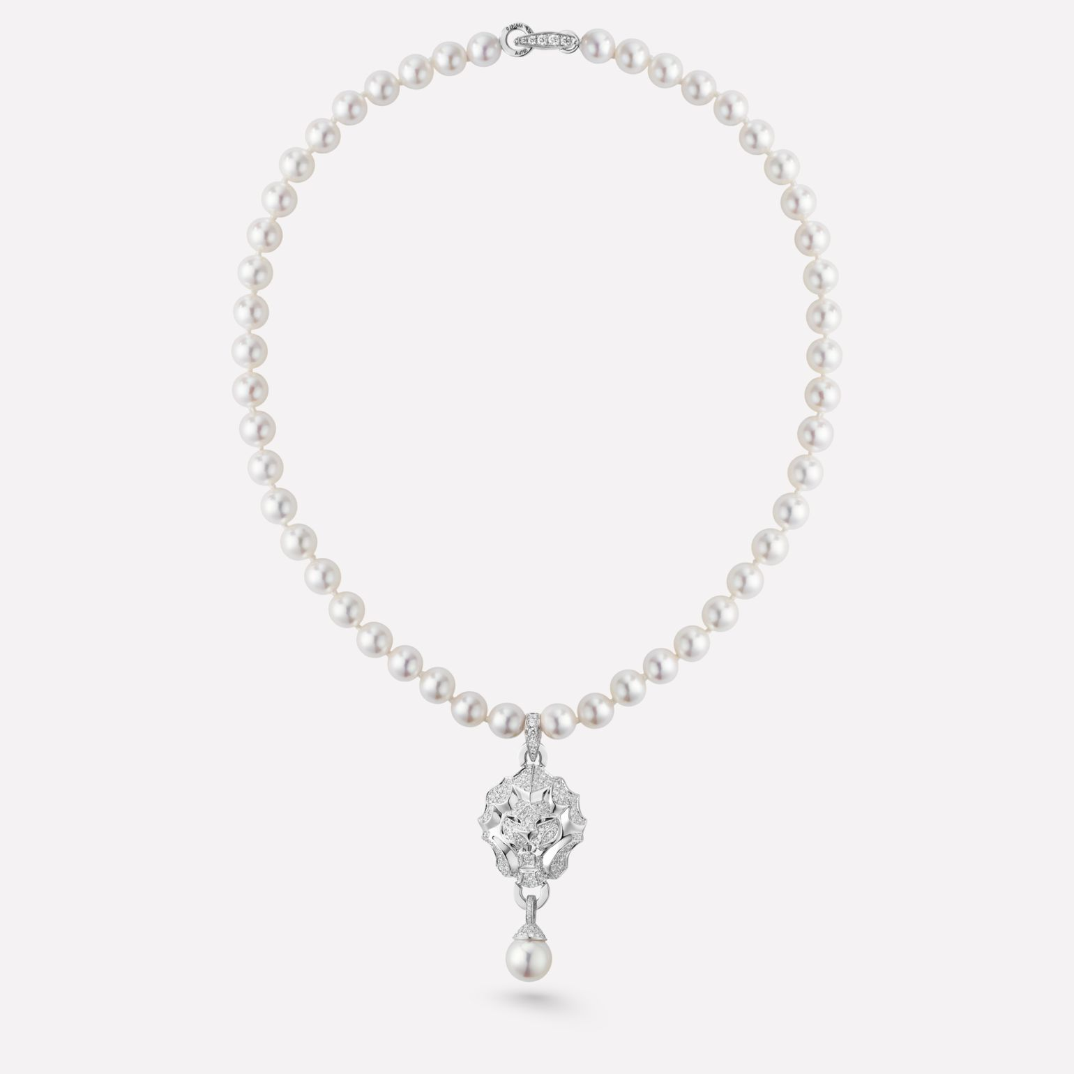 Collier Sous le Signe du Lion Motif lion en or blanc 18 carats, diamants et perles de culture