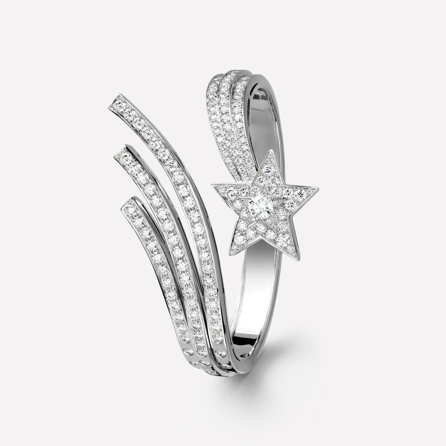 Comète bracelet Shooting star bracelet in 18K white gold and diamonds with one center diamond