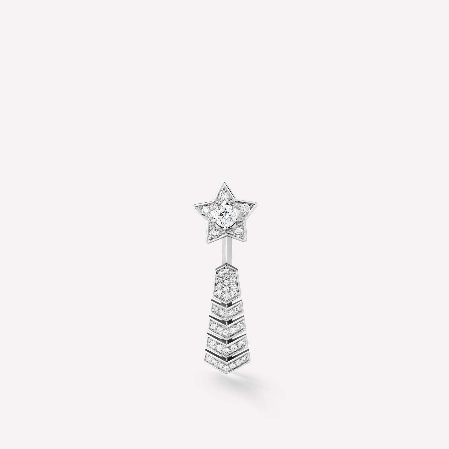 Comète earring Shooting star single earring in 18K white gold and diamonds with one central diamond
