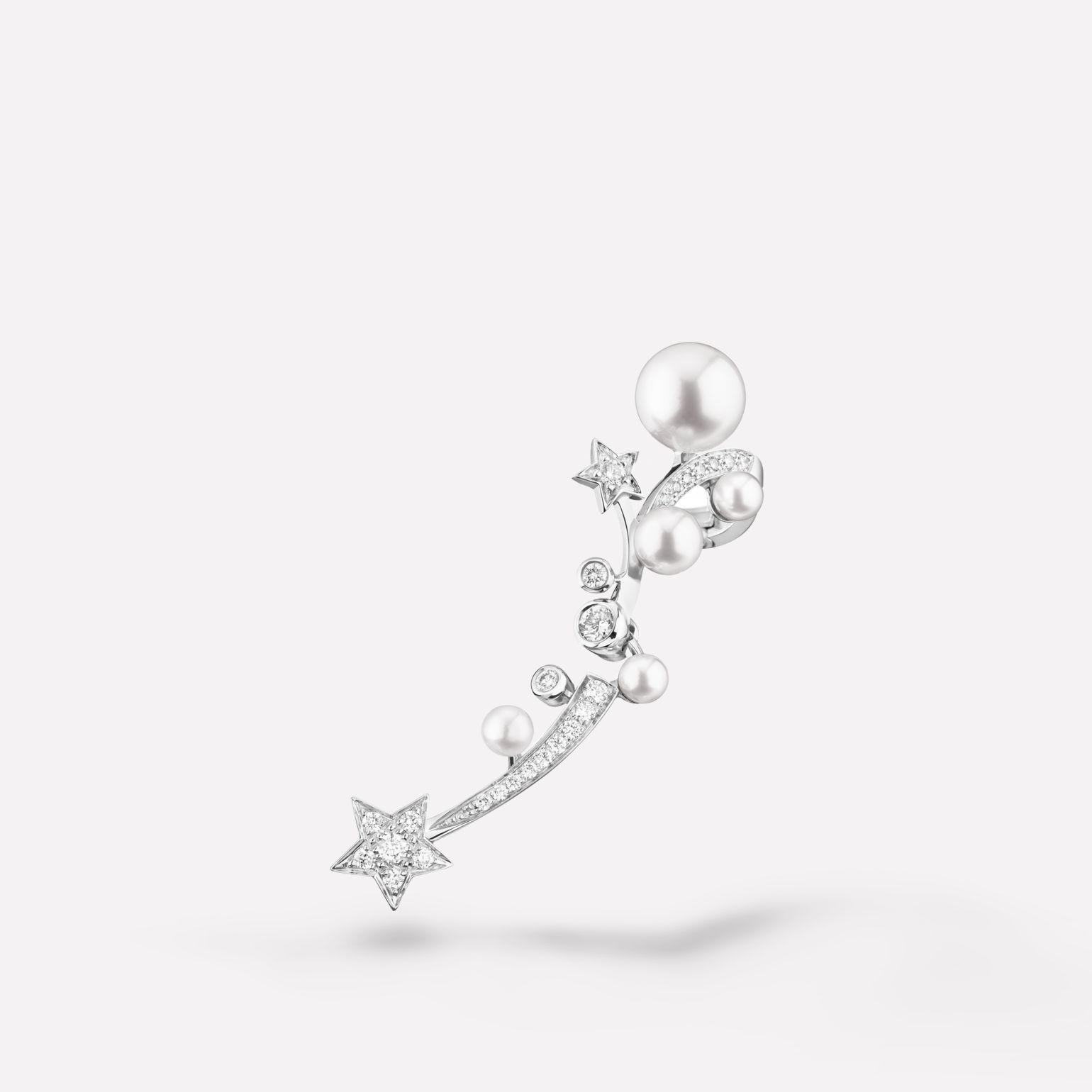 Comète earring Shooting star single earring in 18K white gold, diamonds and cultured pearls
