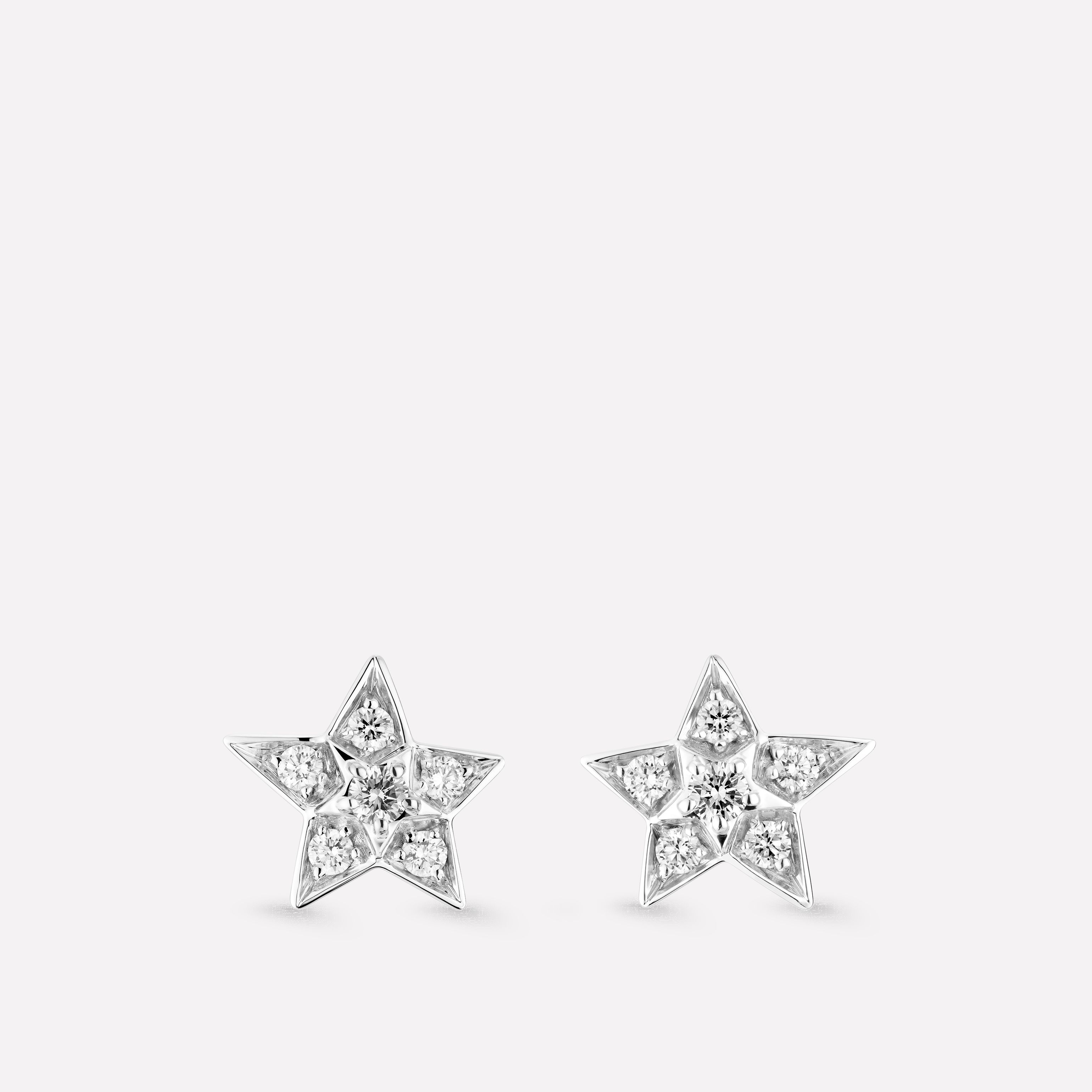 8efdafc8e Comète Earrings Star earrings in 18K white gold and diamonds. Small version.