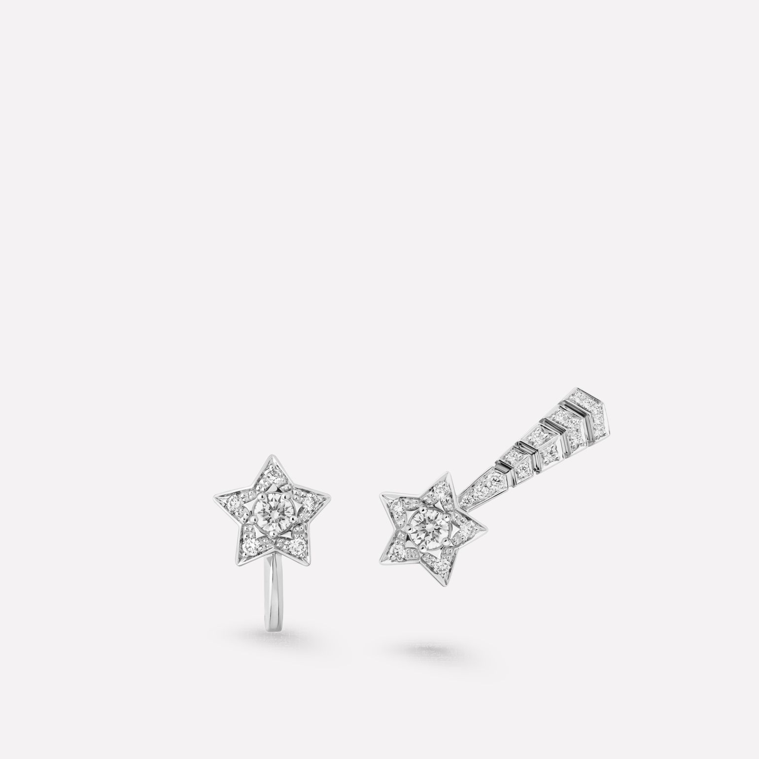 Comète earrings Shooting star earrings in 18K white gold and diamonds with center diamonds