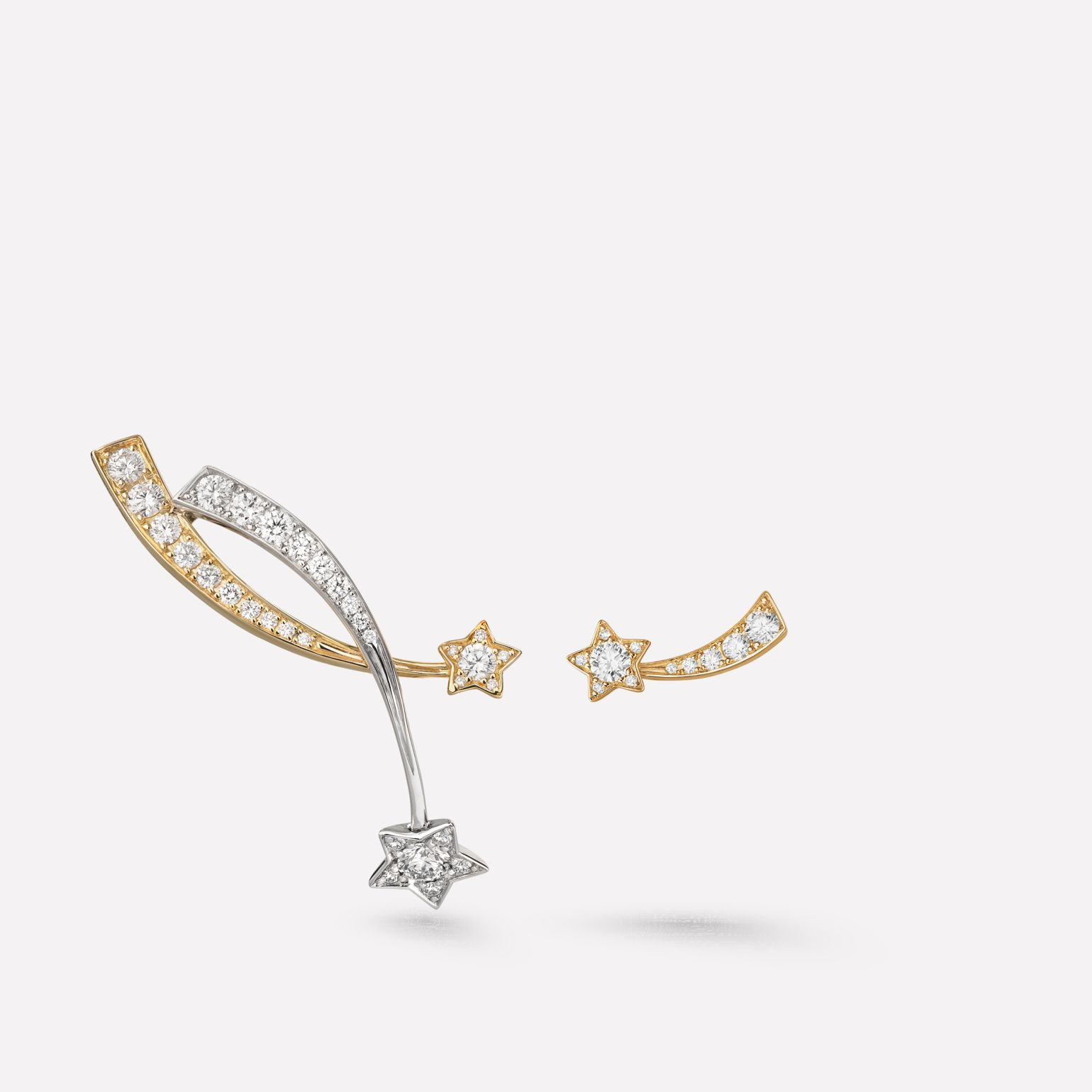 Comète earrings Shooting star earrings in 18K white gold and yellow gold and diamonds