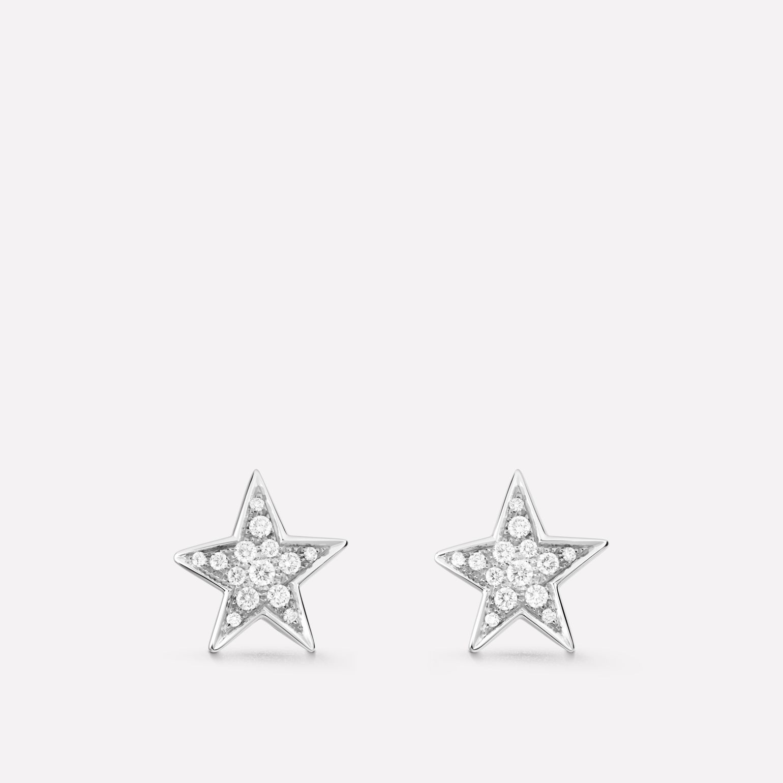 Comète earrings Star earrings, medium version, in 18K white gold and diamonds