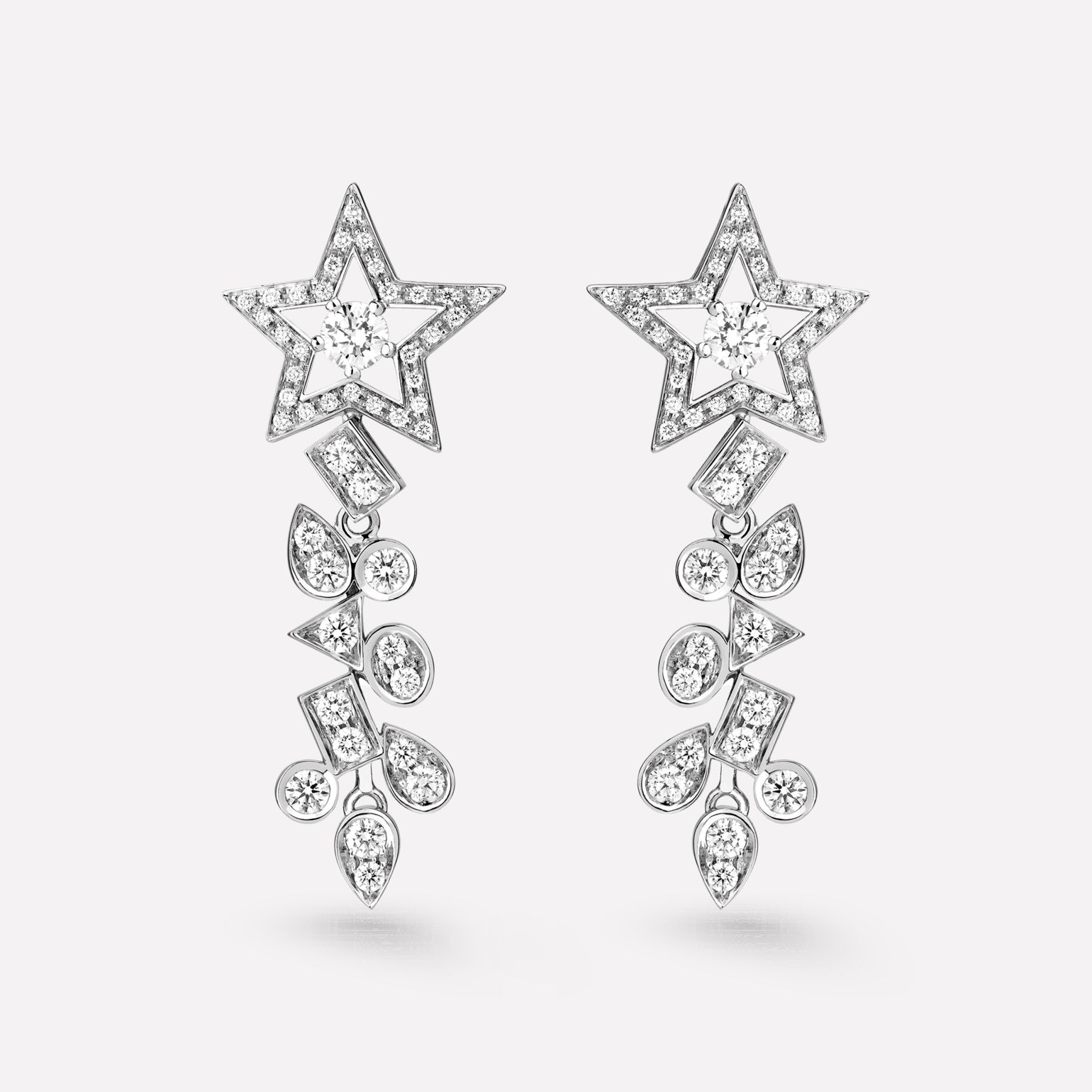 Comète Earrings Star dangling earrings in 18K white gold, diamonds and central diamonds