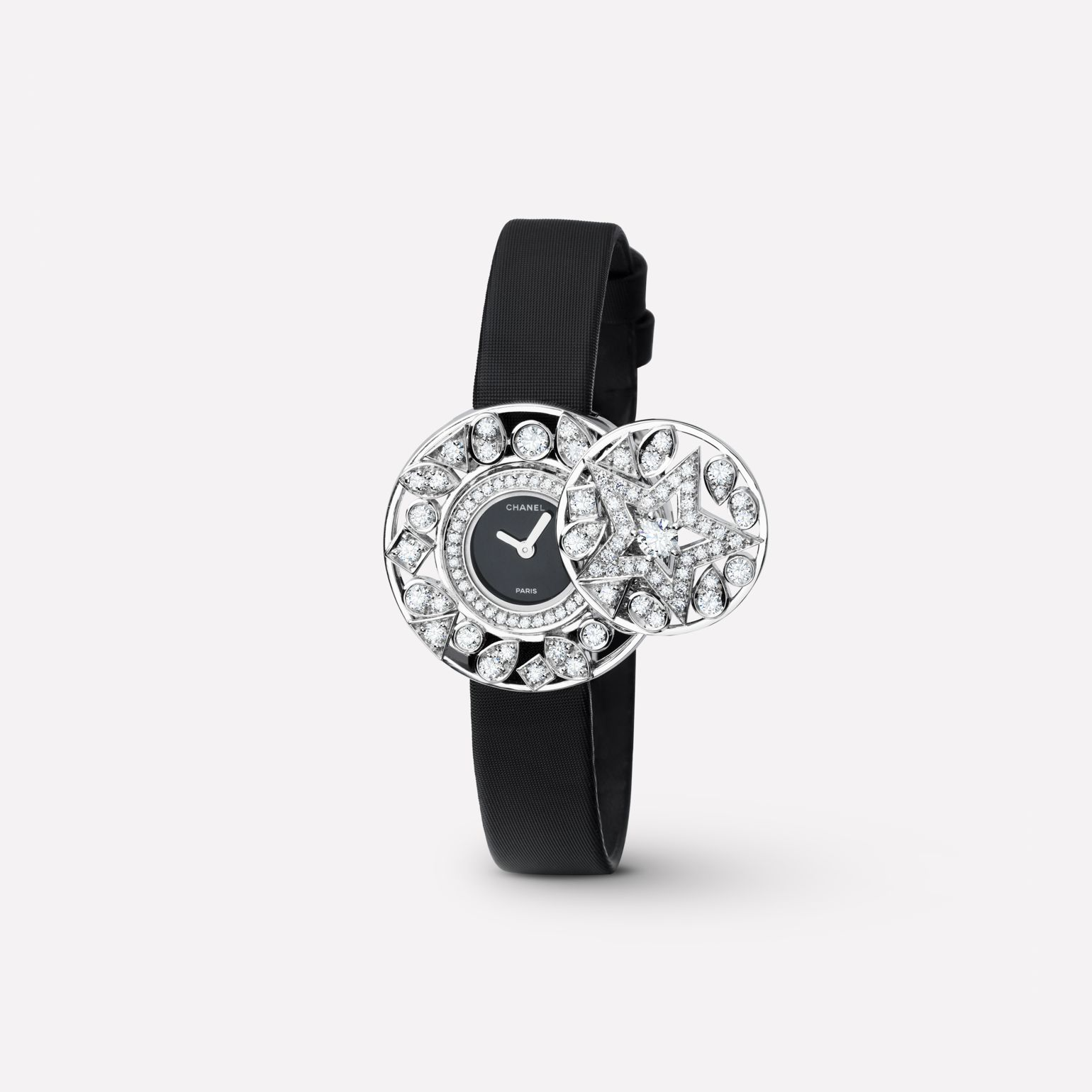 Comète Jewelry Watch Secret watch with star motif in 18K white gold and diamonds