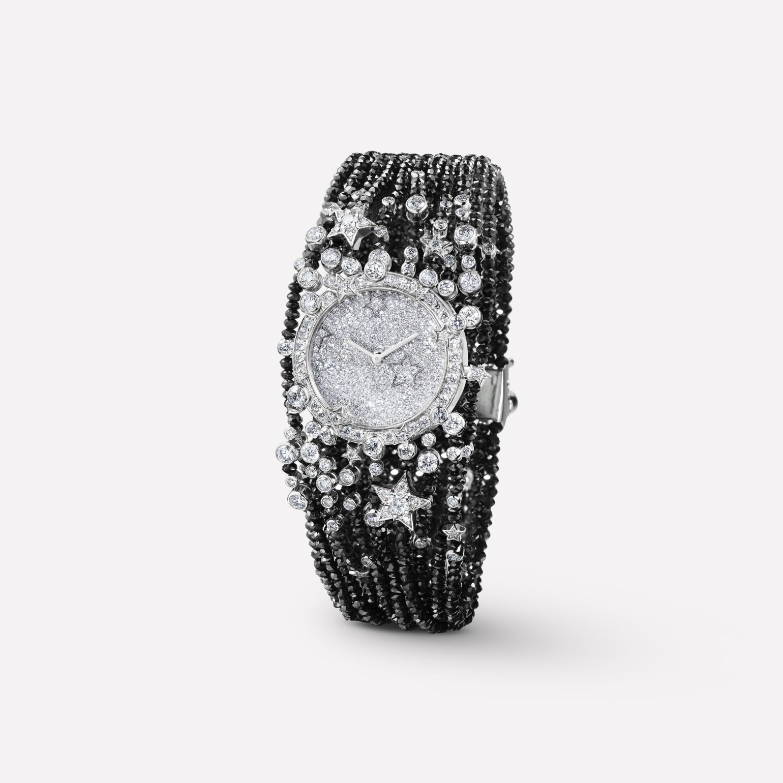 Comète Jewelry Watch Starry night motif in 18K white gold and black and white diamonds