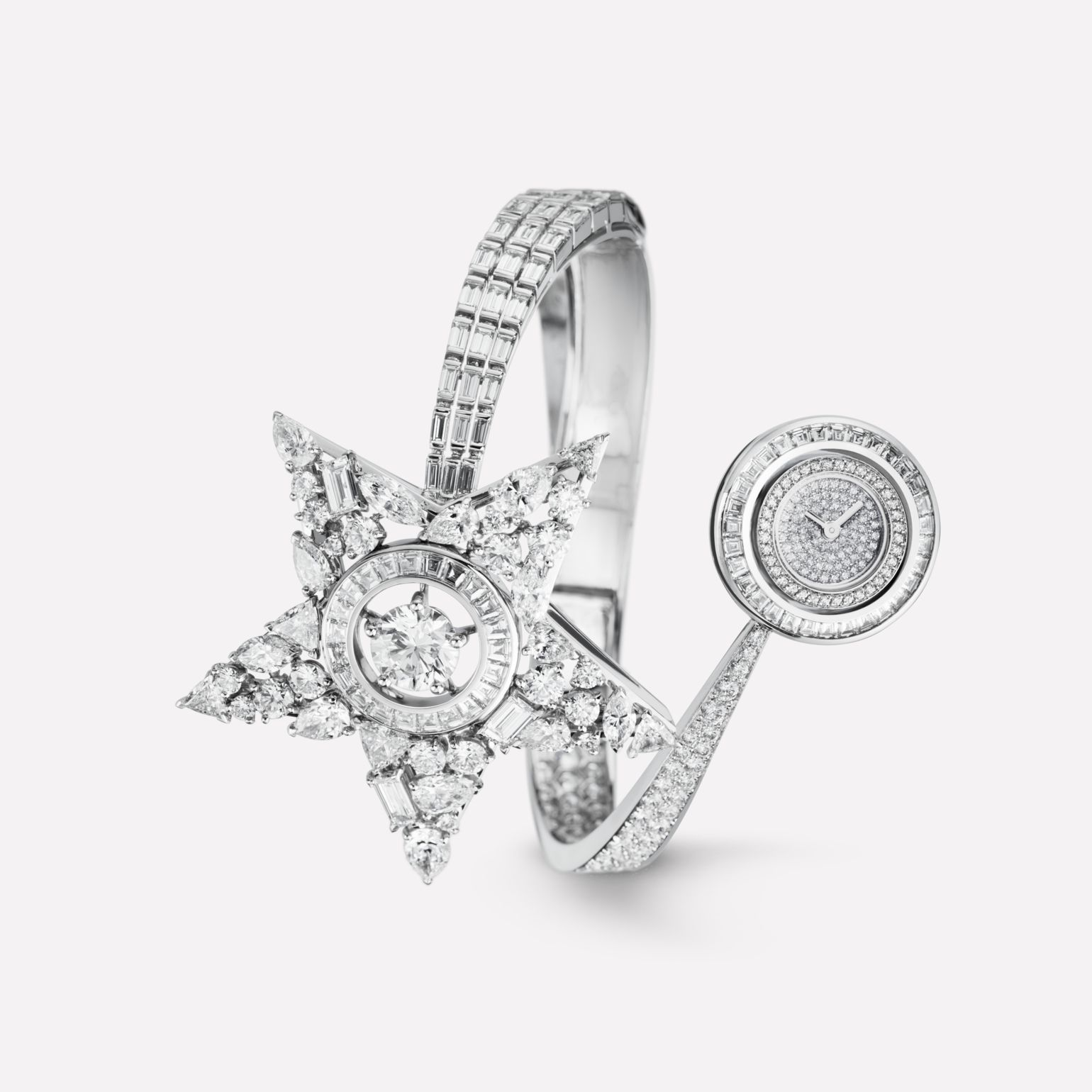 Comète Jewelry Watch Shooting star motif in 18K white gold with diamonds, and center stone