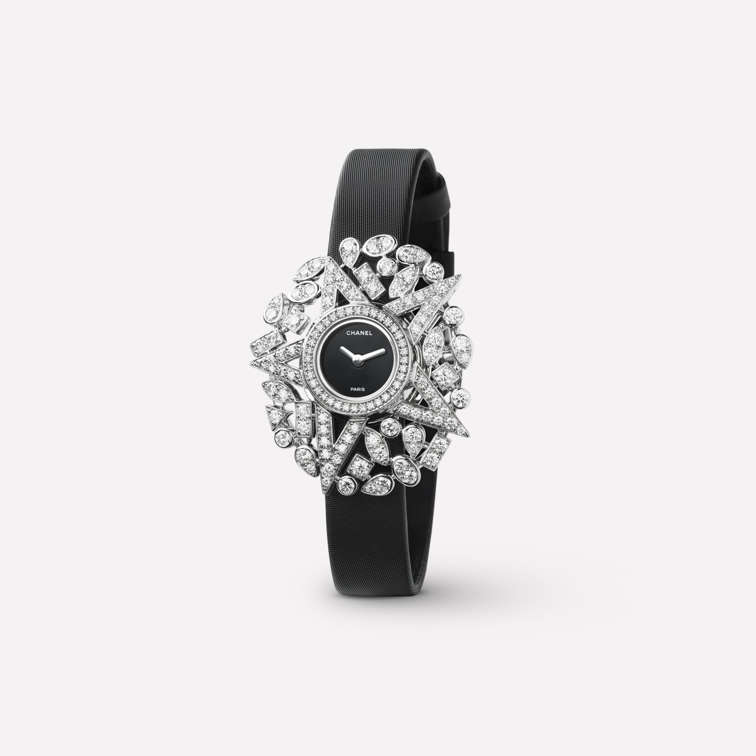 Comète Jewelry Watch Star motif in 18K white gold and diamonds