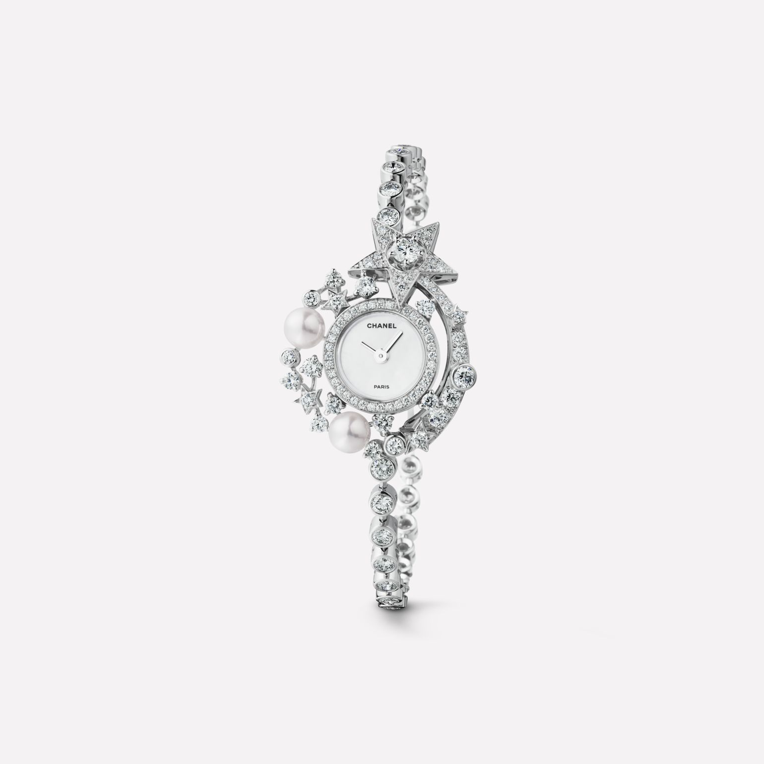 Comète Jewelry Watch Star motif in 18K white gold, cultured pearls, and diamonds
