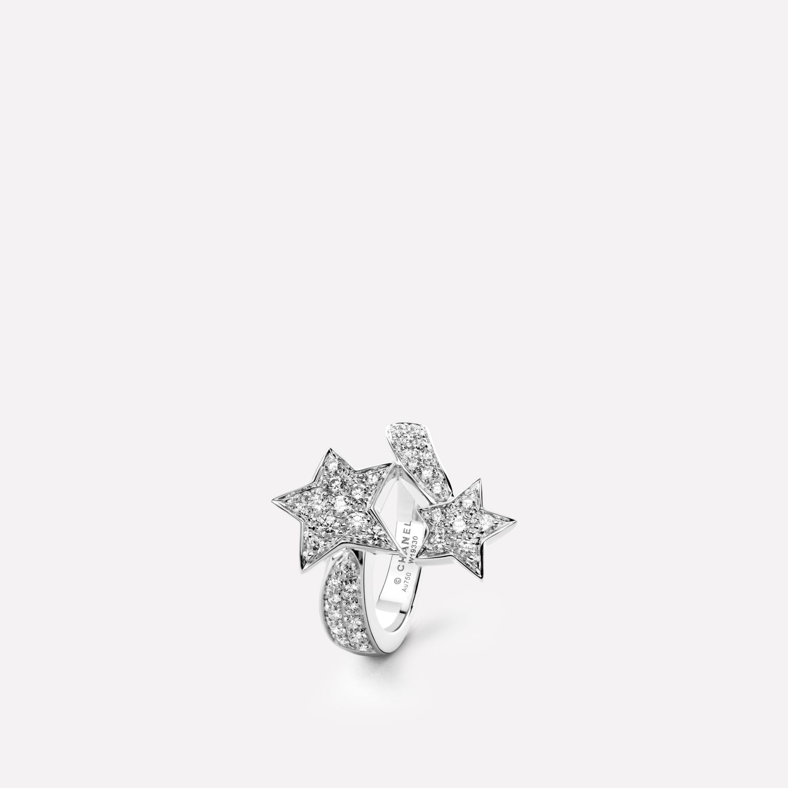 Comète Ring Two star ring in 18K white gold and diamonds