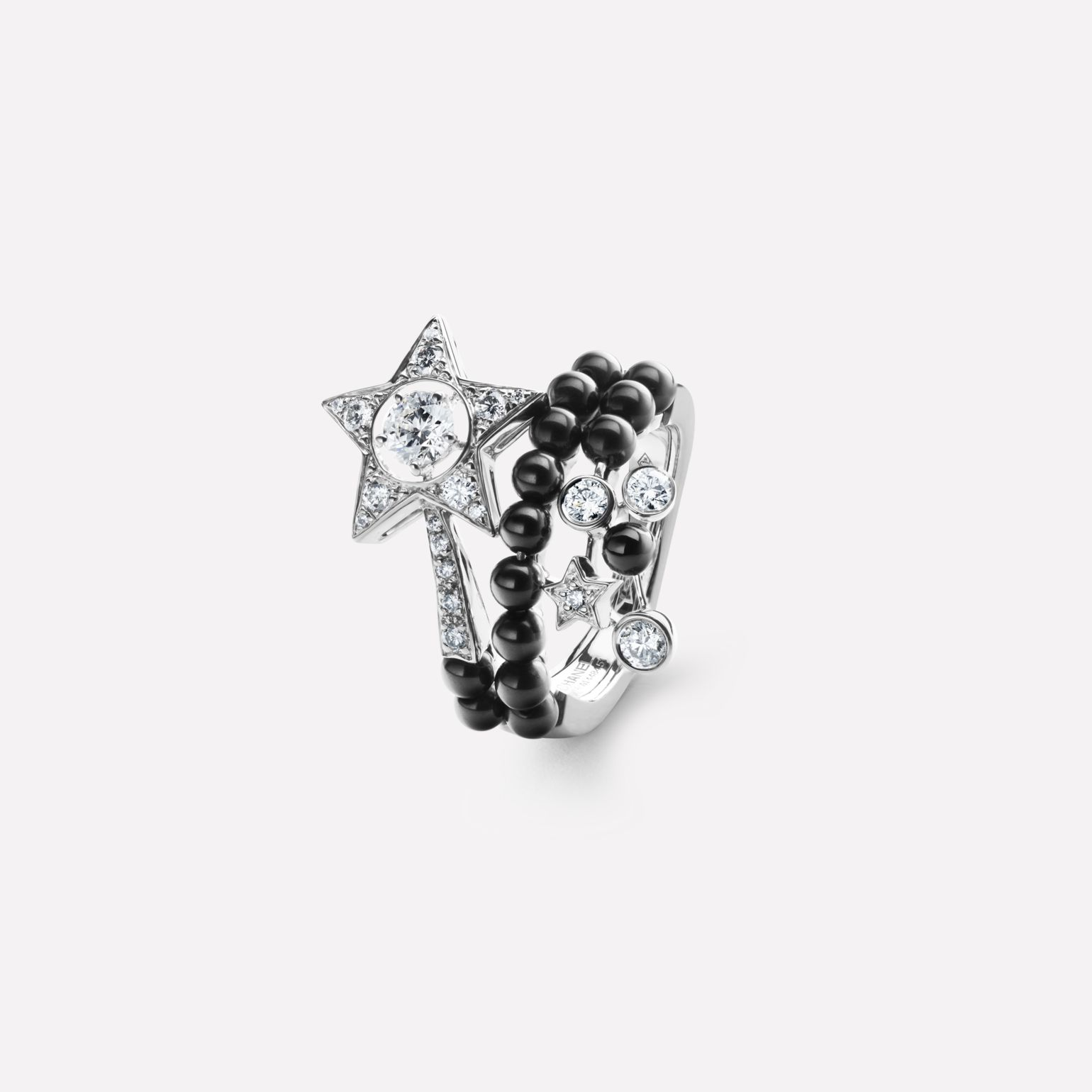 Comète Ring Star ring in 18K white gold, diamonds, black spinels and central diamond