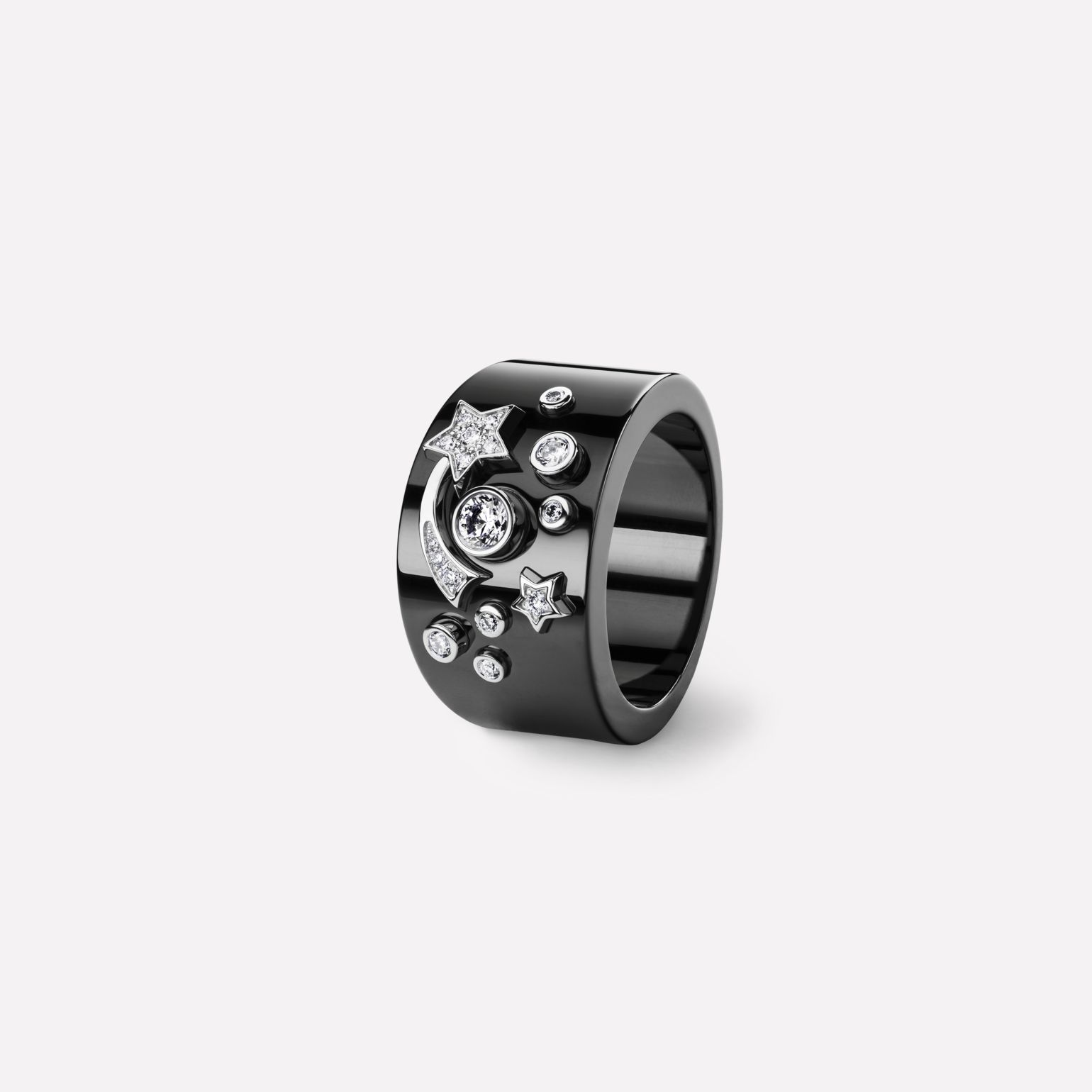 Comète Ring Star ring in black ceramic, 18K white gold and diamonds. Large version.