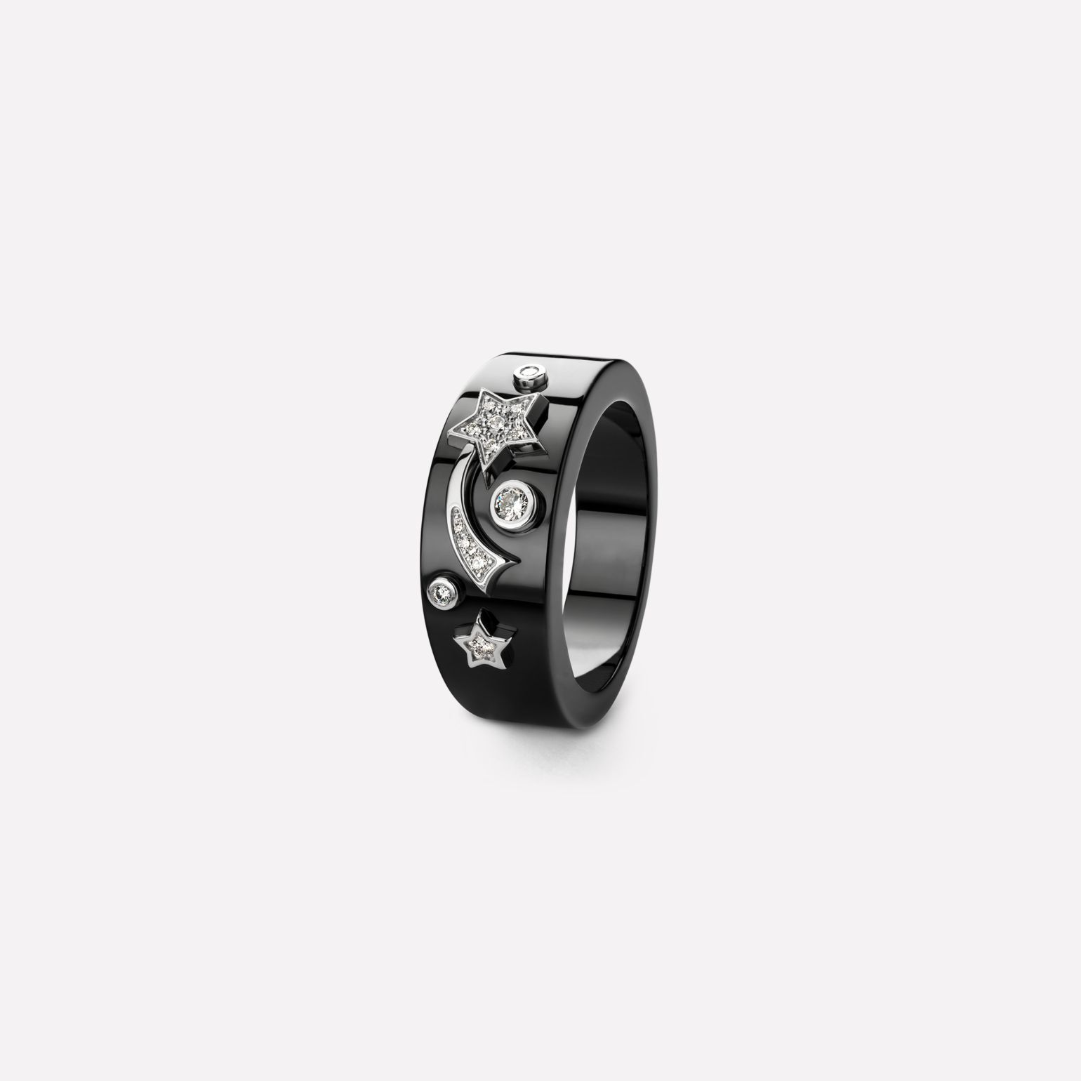 Comète Ring Star ring in black ceramic, 18K white gold and diamonds. Medium version.