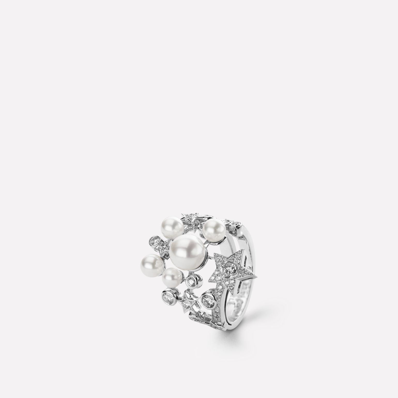 Comète Ring Star ring in 18K white gold, diamonds and cultured pearls
