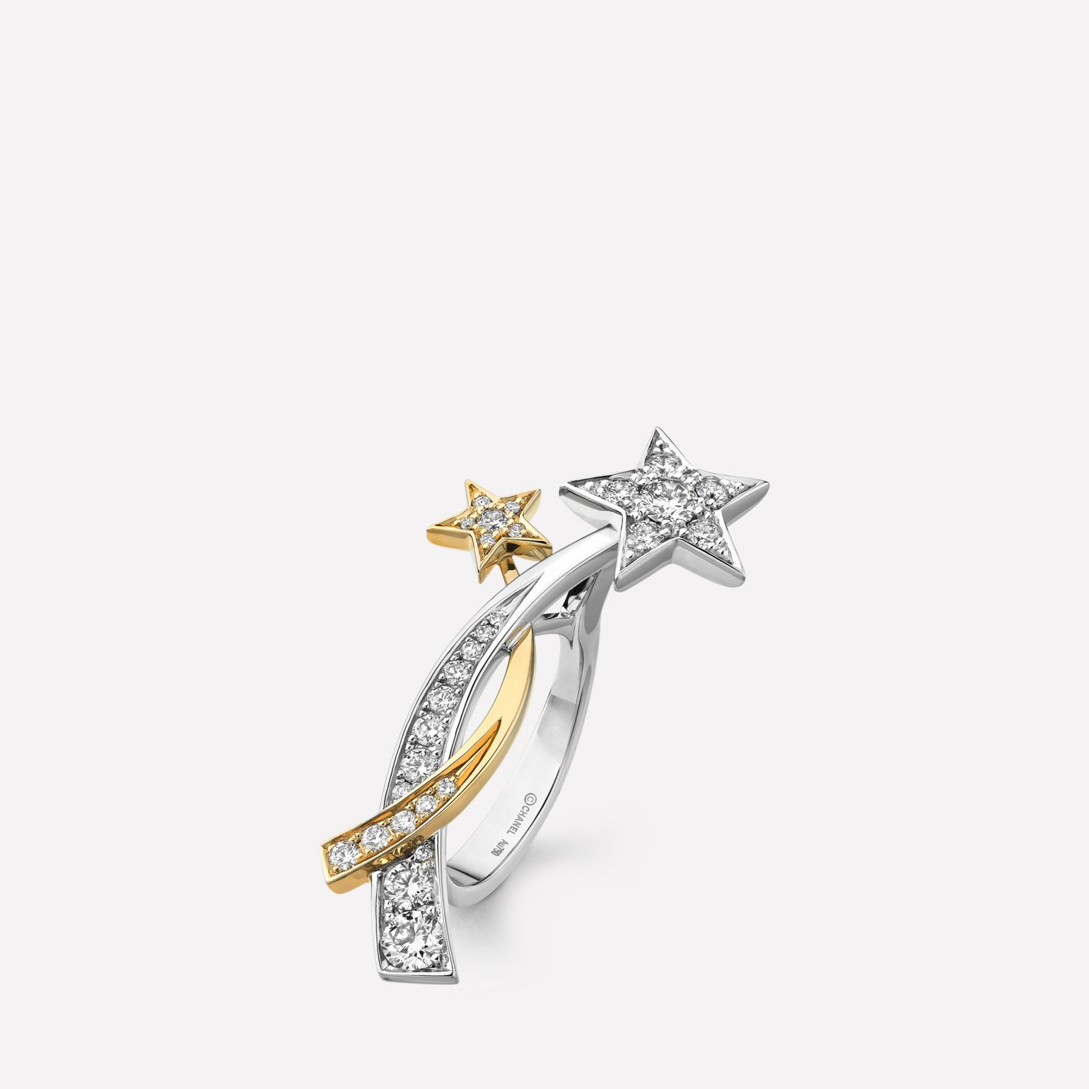 Comète Ring Two star ring in 18K white and yellow gold and diamonds