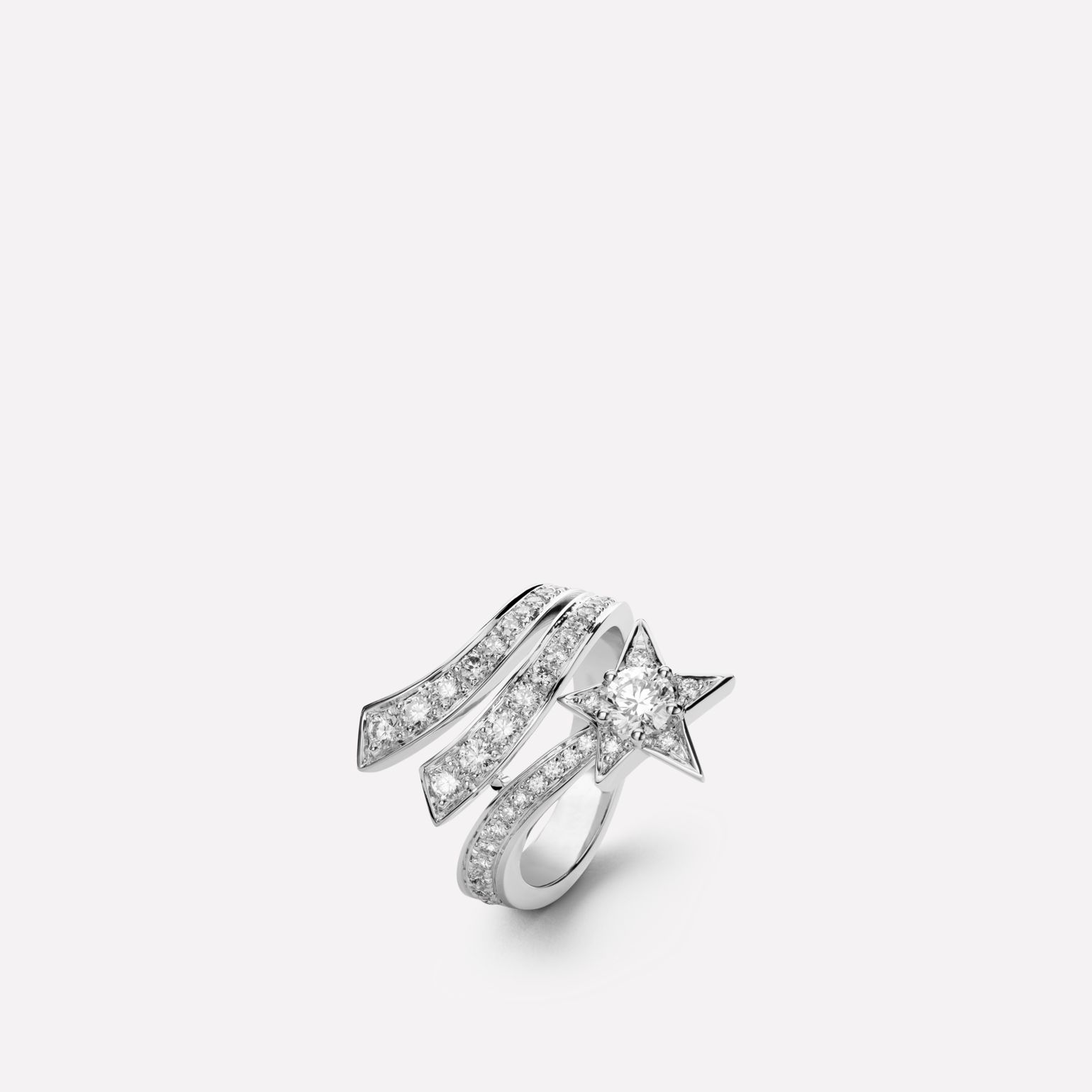 Comète ring Shooting star ring in 18K white gold and diamonds with one center diamond