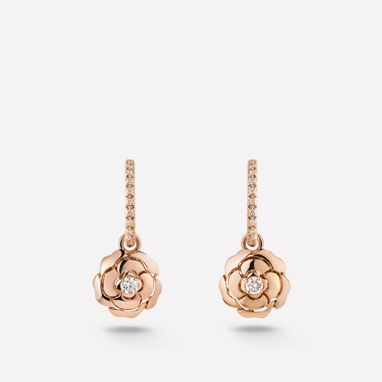 Extrait de Camélia earrings Extrait de Camélia dangling earrings in 18K pink gold and diamonds with central diamonds
