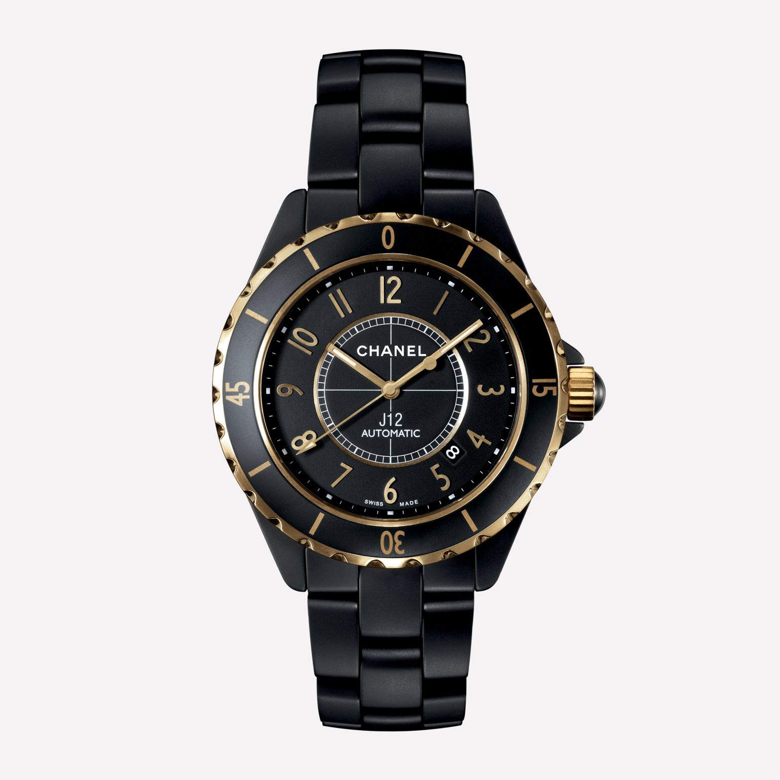 J12 3125 Watch Yellow gold and matt black highly resistant ceramic with yellow gold numerals
