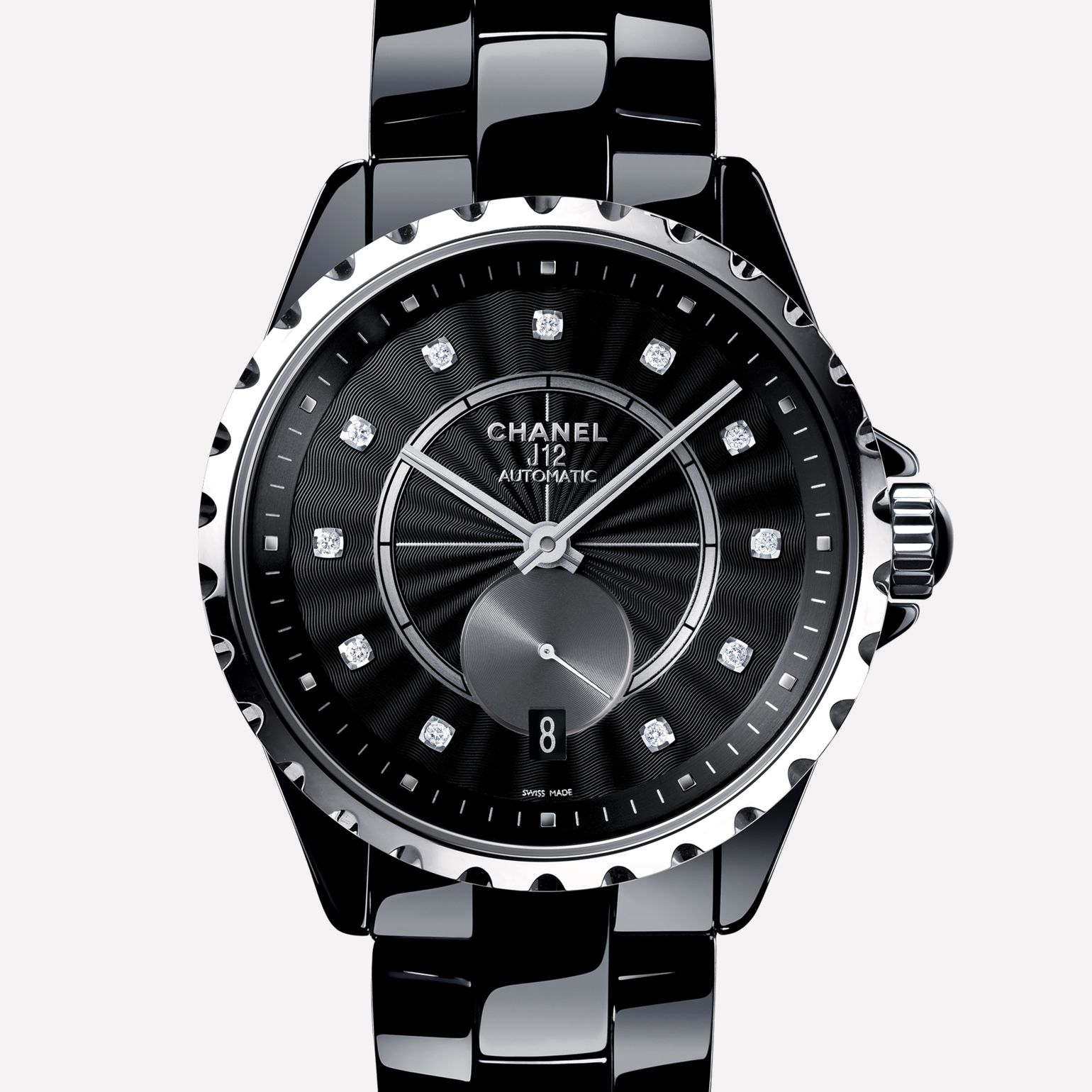 J12-365 Watch Black ceramic and steel, diamond indicators