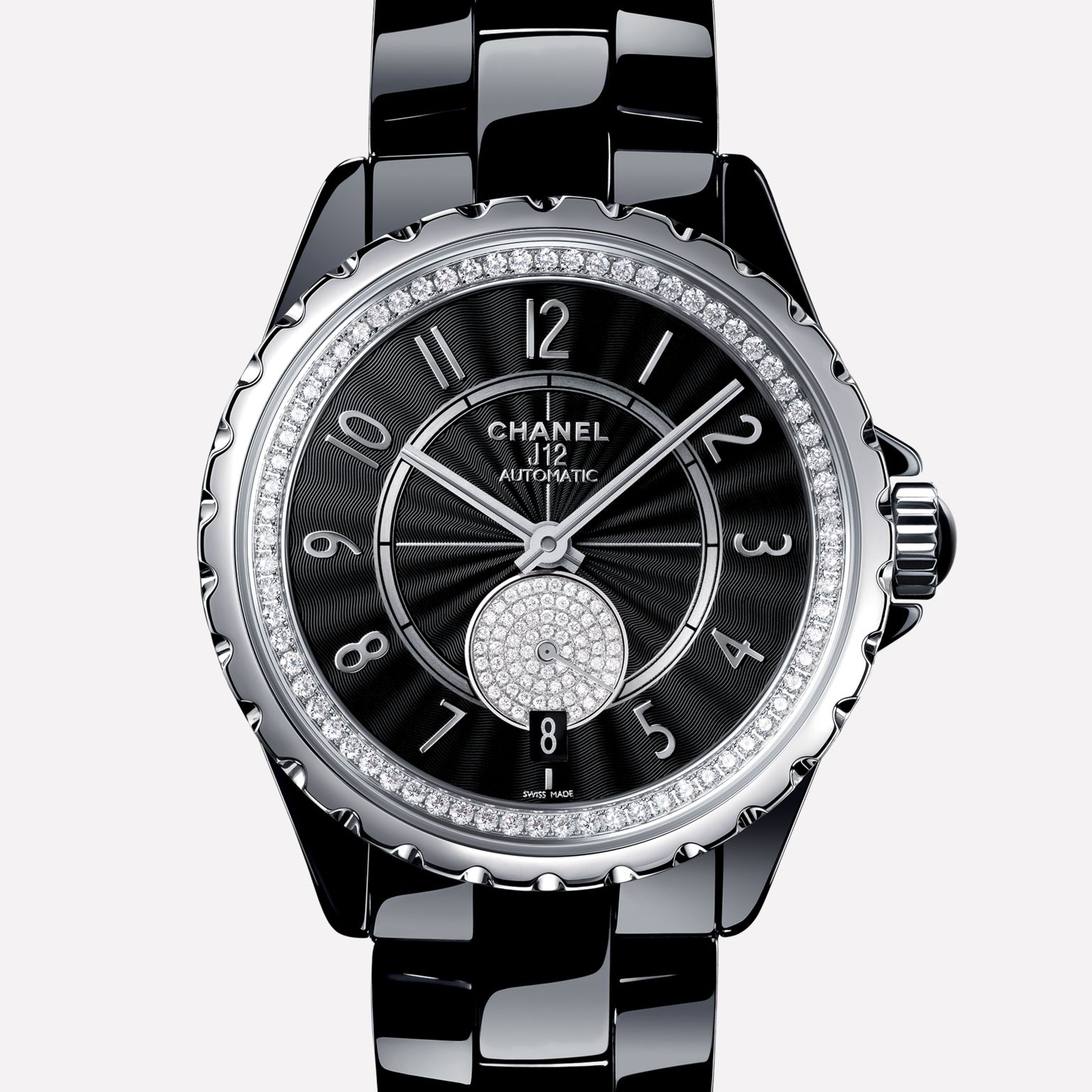 J12-365 Black ceramic and steel, bezel and small seconds counter set with diamonds