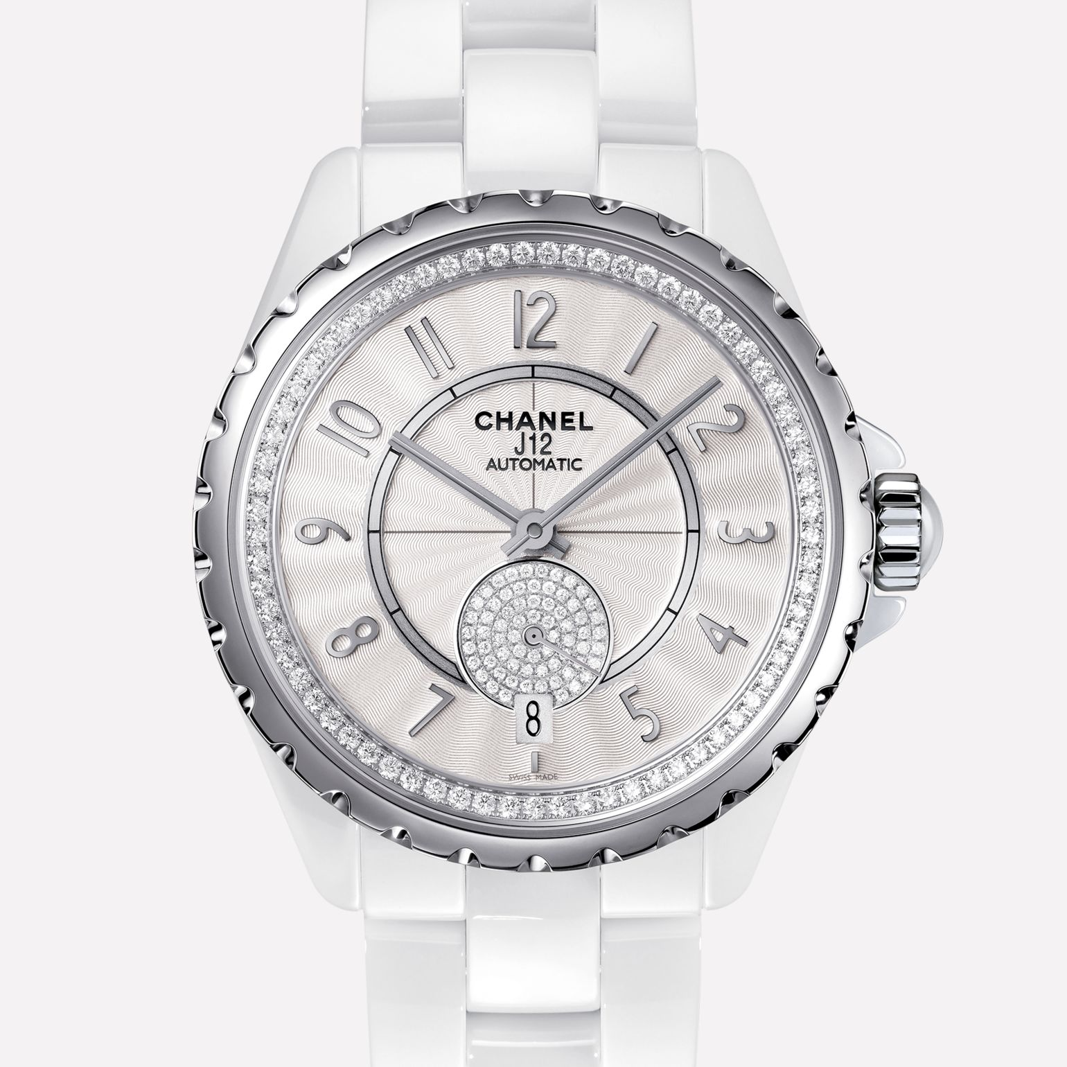 J12-365 White ceramic and steel, bezel and small seconds counter set with diamonds