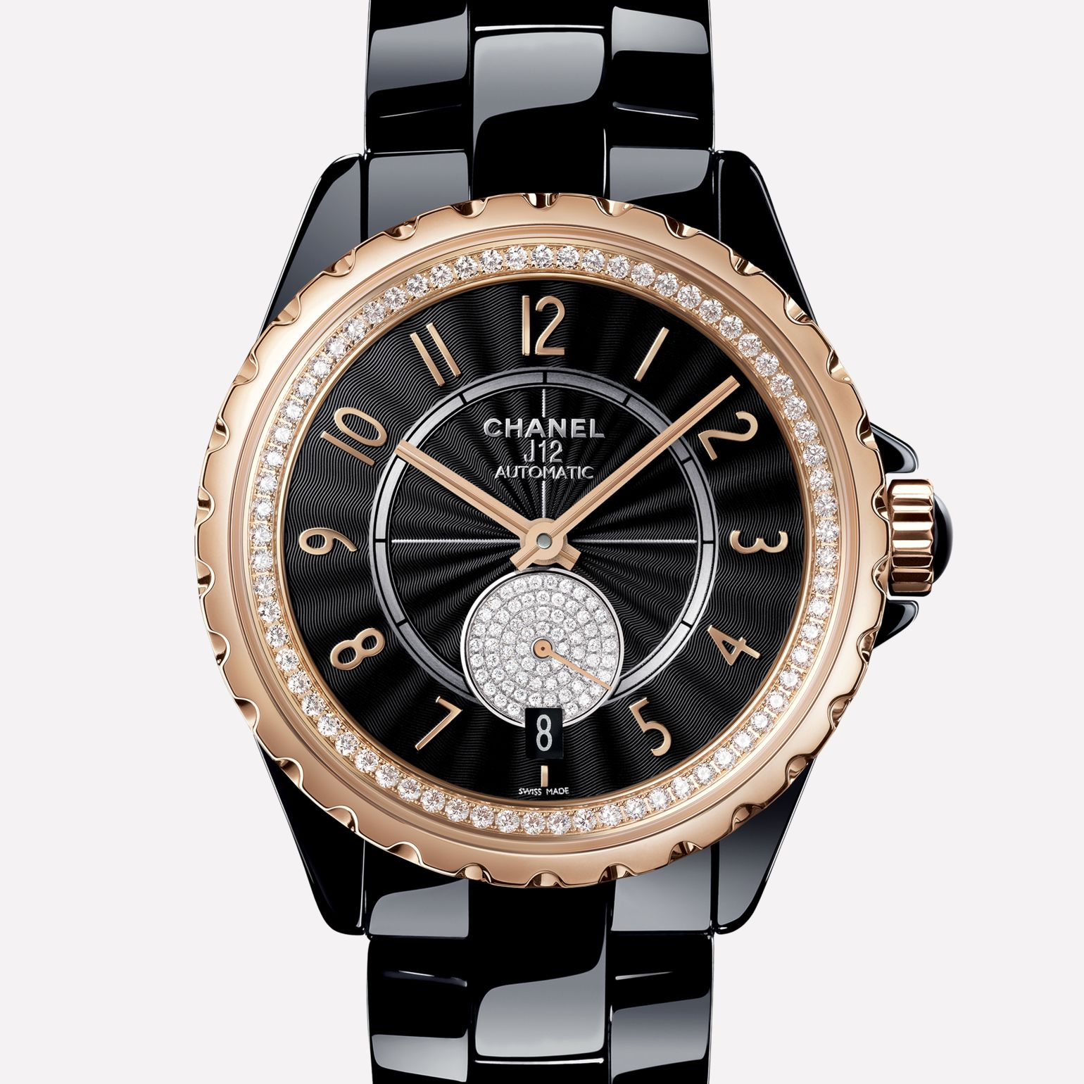 J12-365 Black ceramic and BEIGE GOLD, flange and small seconds counter set with diamonds