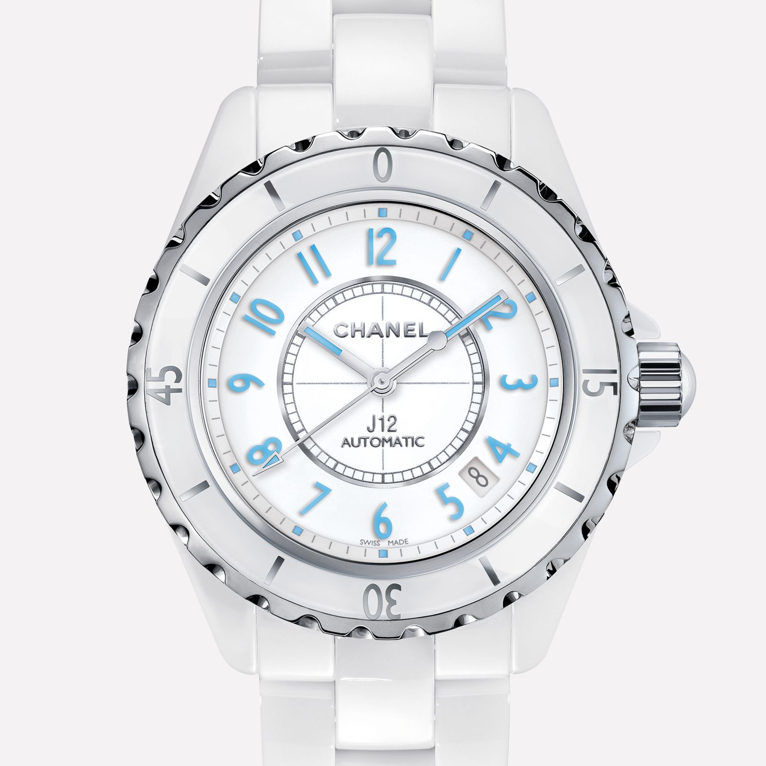 J12 Blue Light White ceramic and steel, blue luminescent numerals