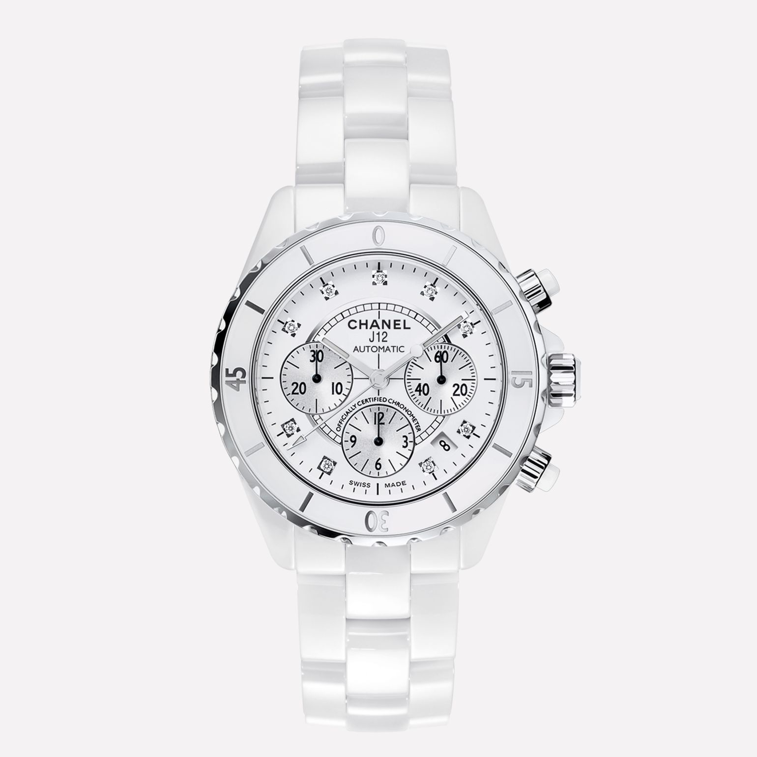 J12 Chronograph Watch, 41 mm  White highly-resistant ceramic and steel, diamond indicators