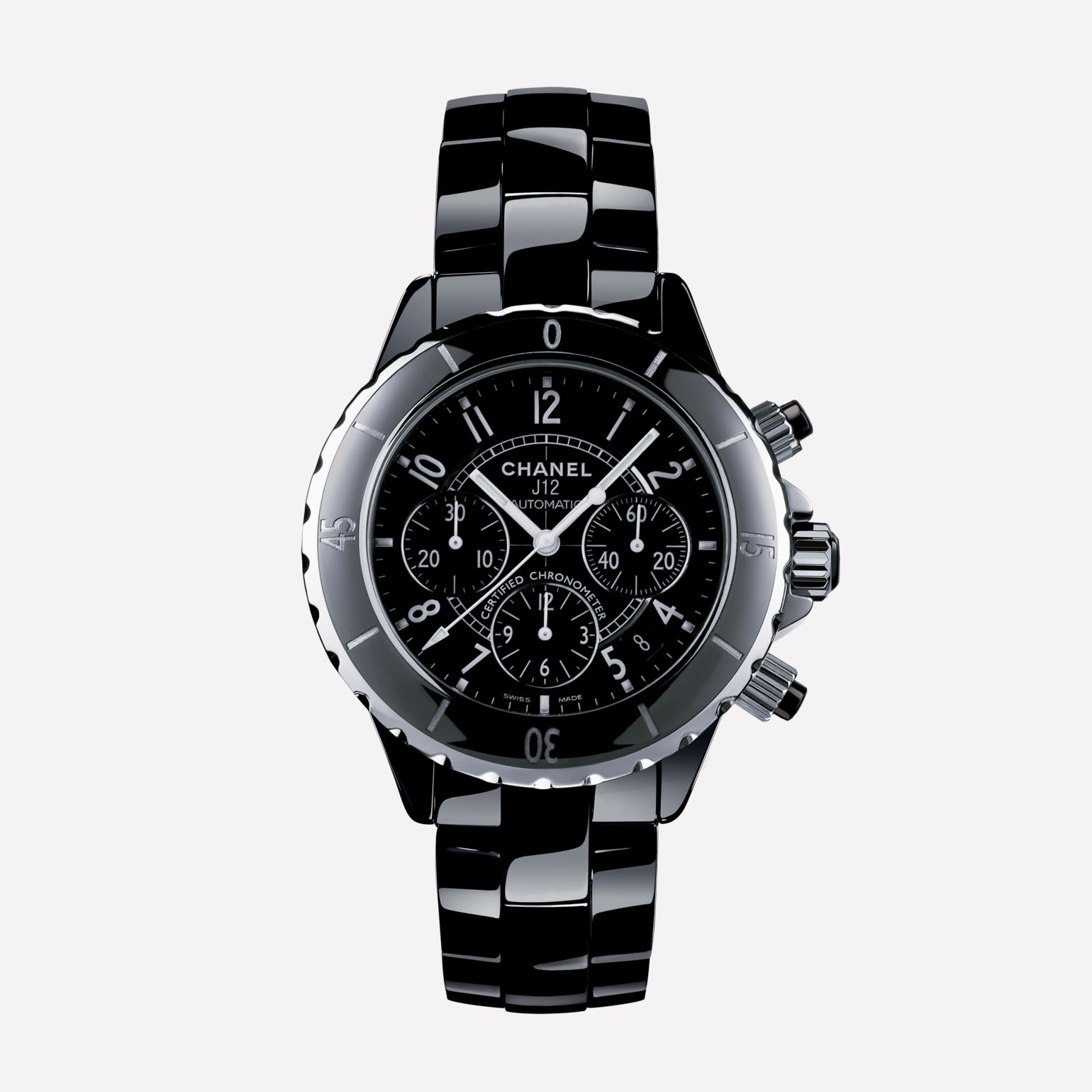 J12 Chronograph Watch, 41 mm Black highly-resistant ceramic and steel