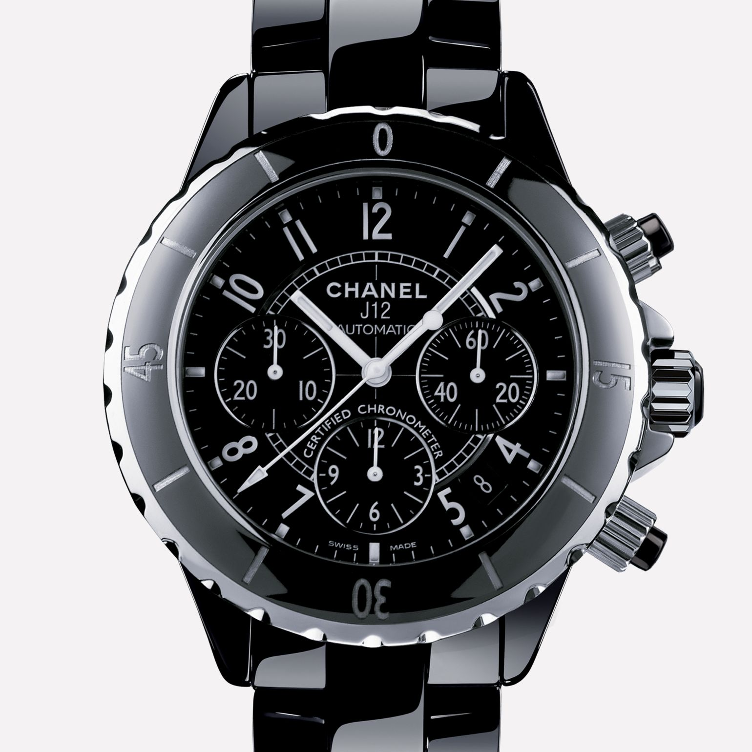 J12 Chronograph Watch Black highly-resistant ceramic and steel