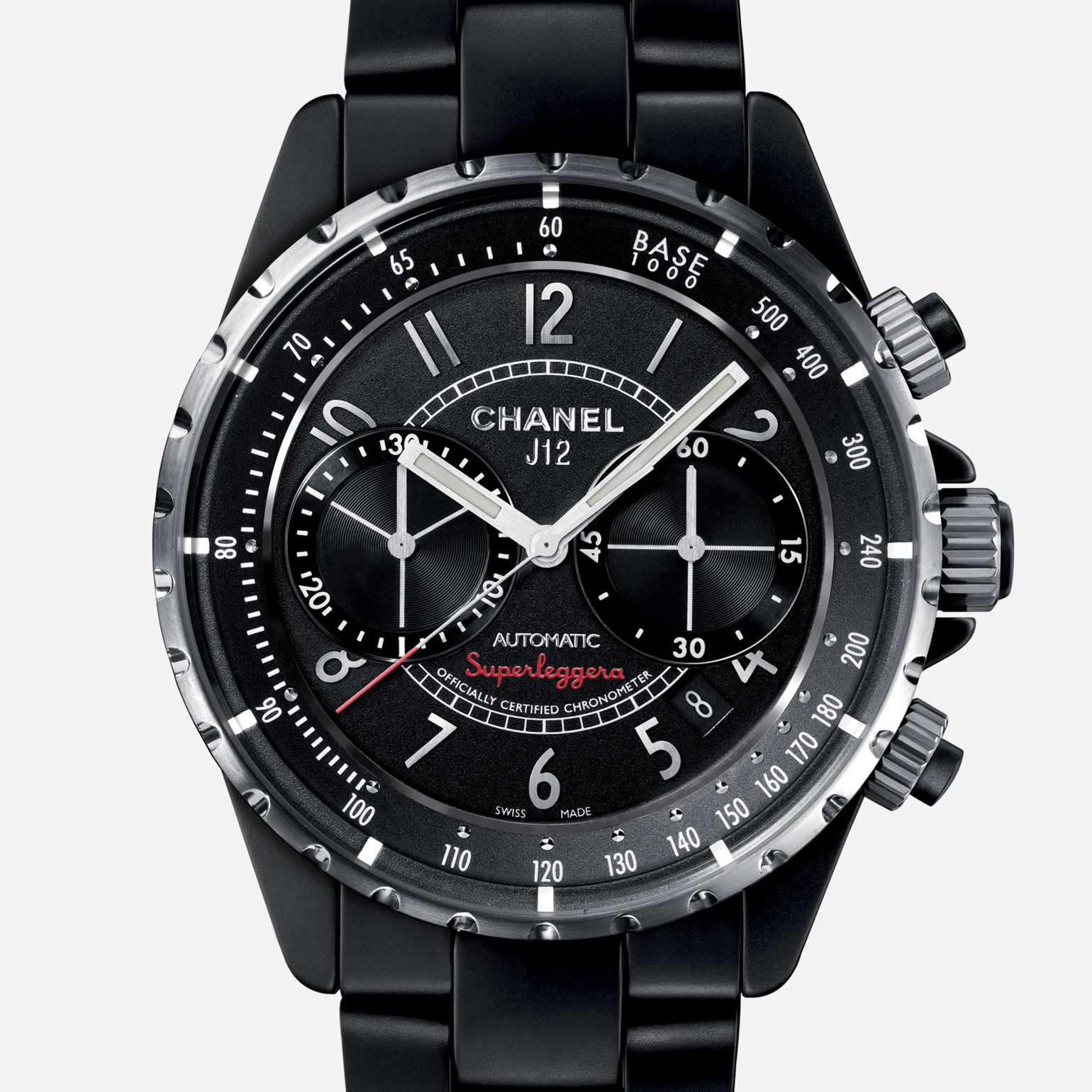 J12 CHRONOGRAPHE SUPERLEGGERA Watch Matte black ceramic and steel