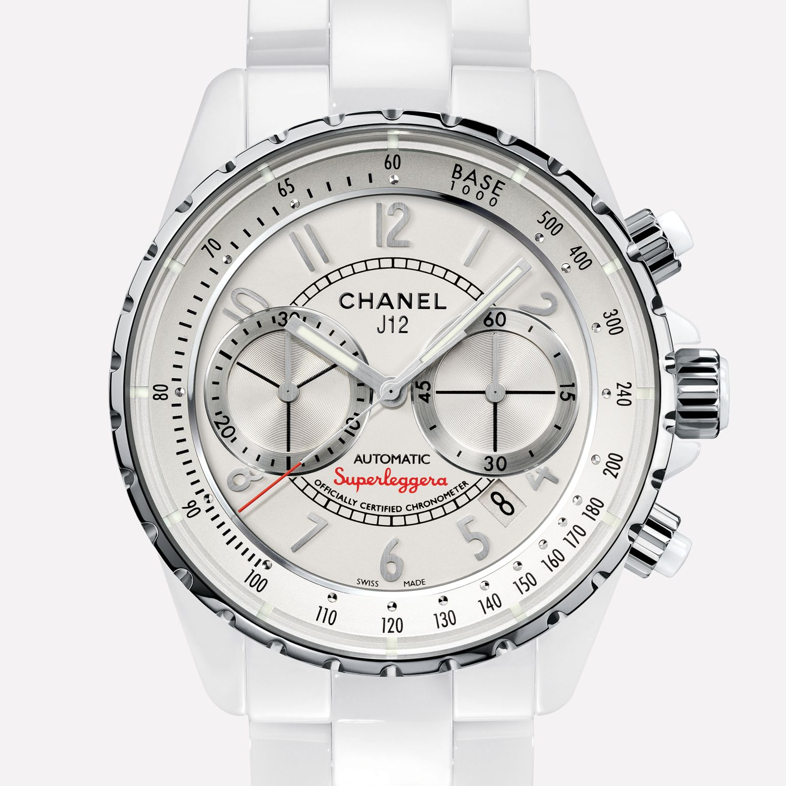 J12 CHRONOGRAPHE SUPERLEGGERA Watch White ceramic and steel