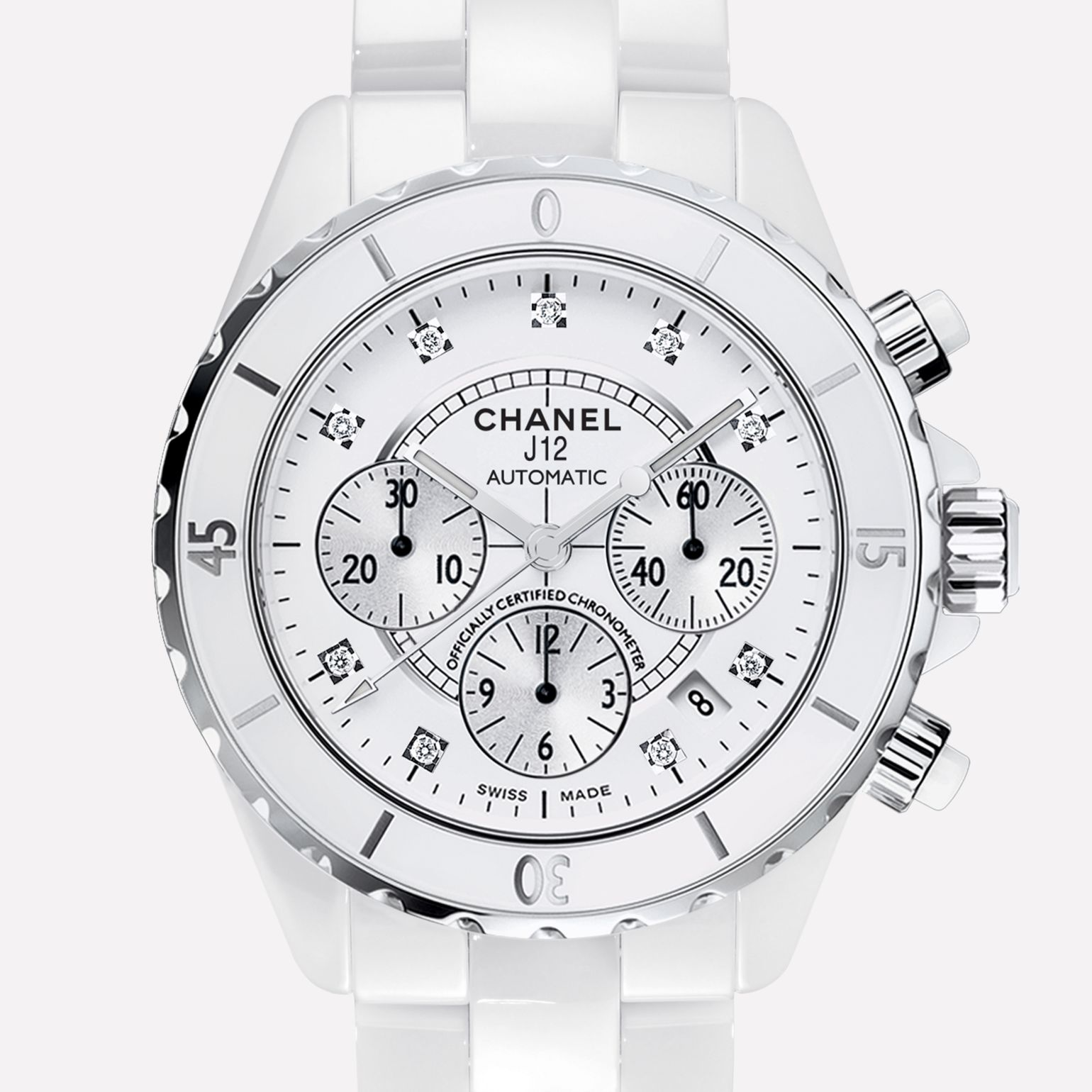 J12 CHRONOGRAPHE Watch White ceramic and steel, diamond indicators