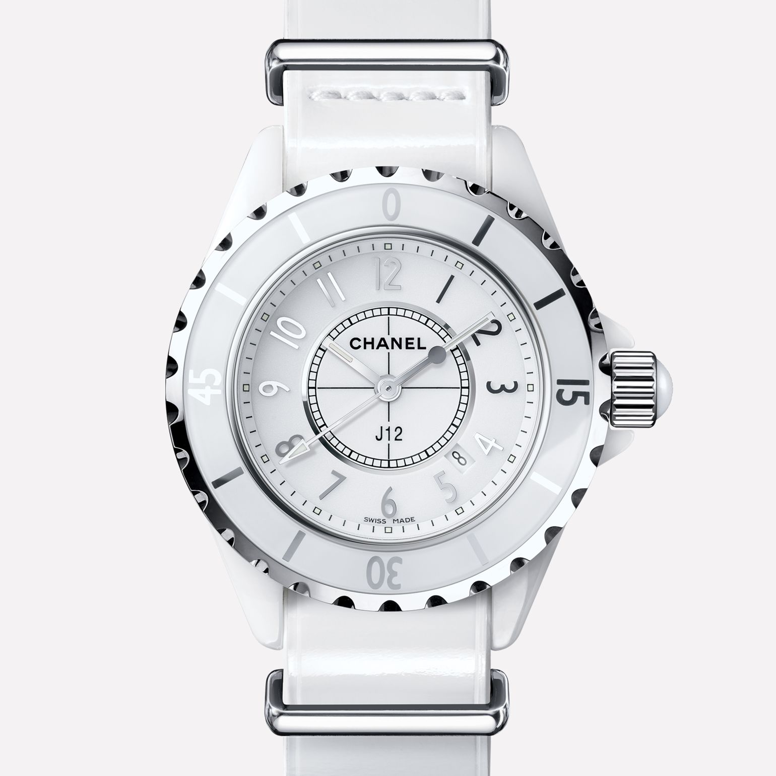 J12-G10 Gloss Watch White ceramic and steel, patent calfskin strap